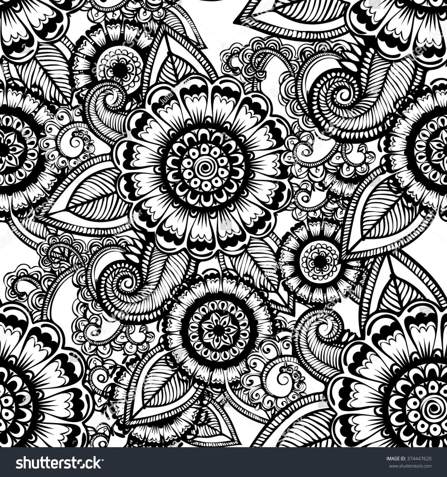 Vector Black White Henna Flowers Seamless Stock Vector Royalty Free