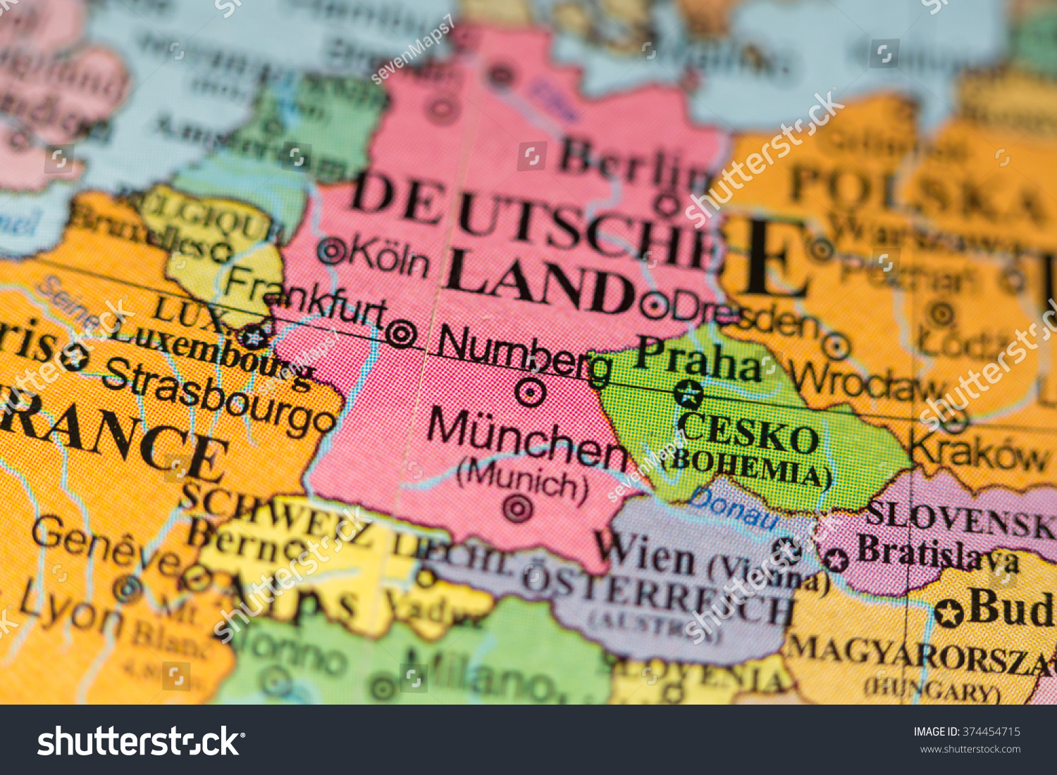 Map View Of Nurnberg Germany On A Geographical Map Of Europe Ez