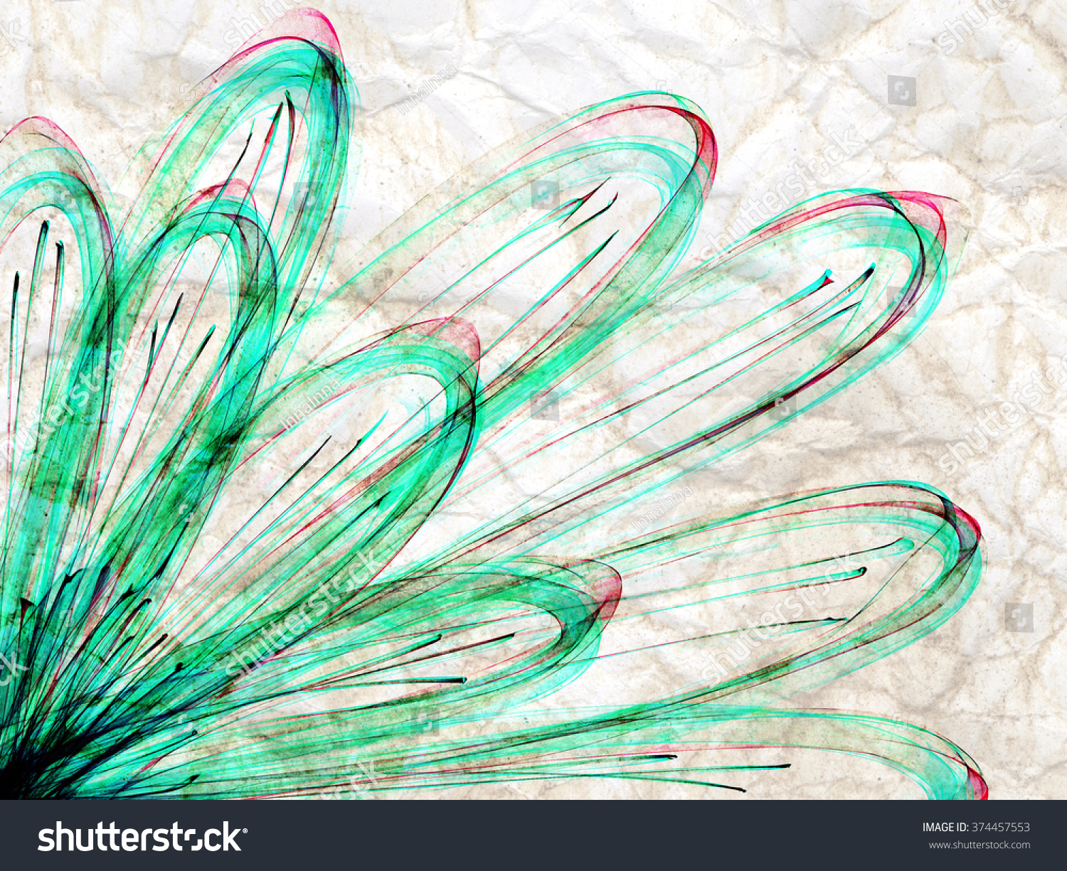 Abstract Line Drawing Flowers : Green flower abstract line draw floral stock illustration