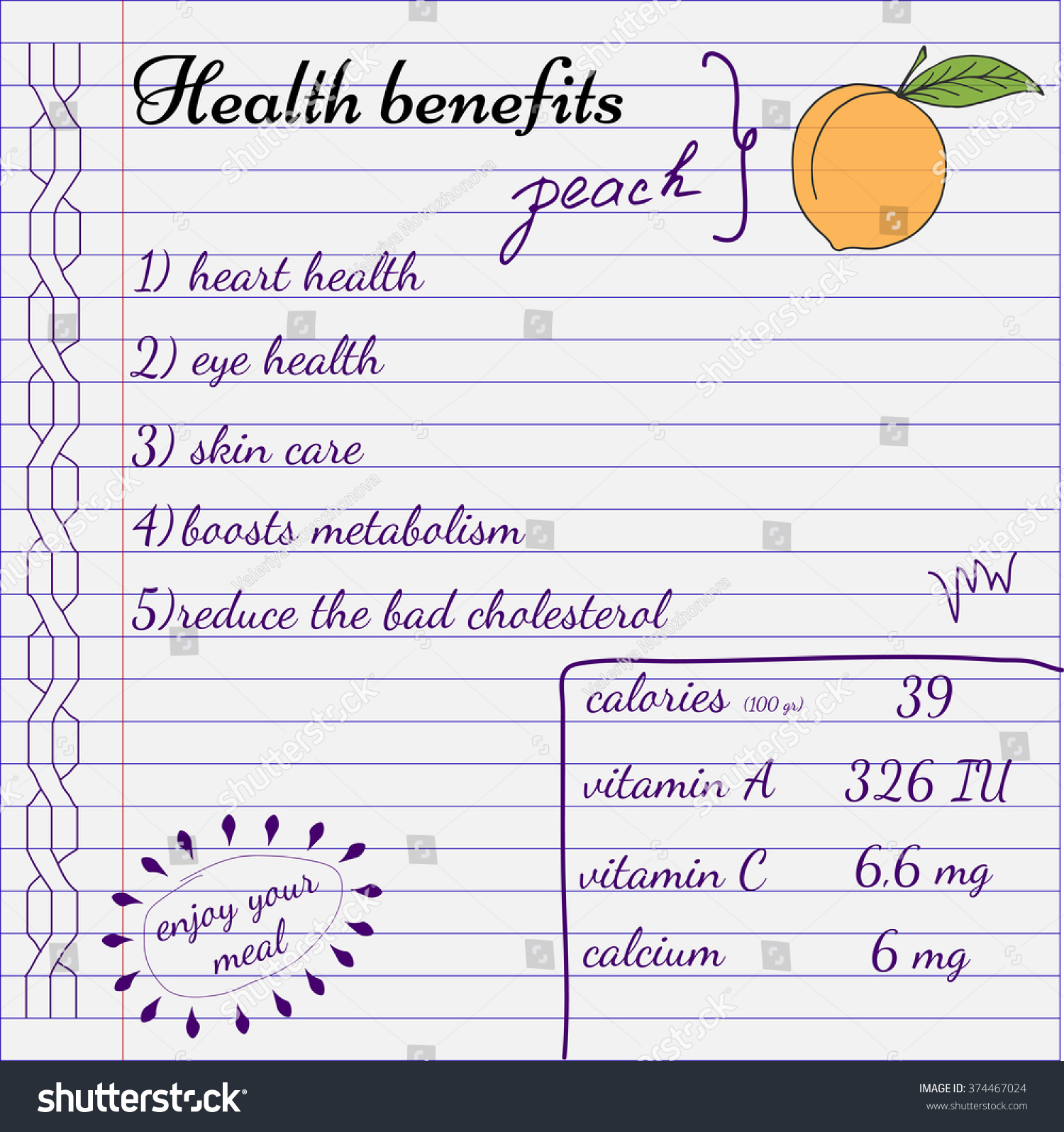 Health Benefits Of Peach. Nutrition Facts Infographics. Hand Drawn ...
