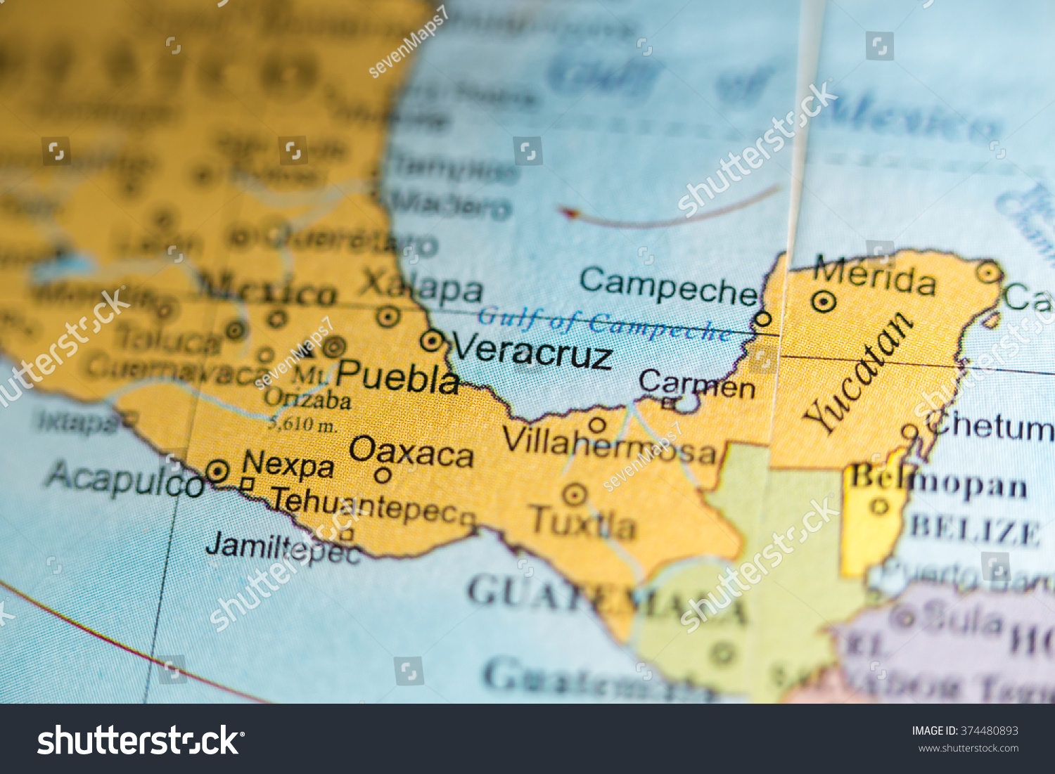 Map View Veracruz Mexico On Geographical Stock Photo (Edit Now ...
