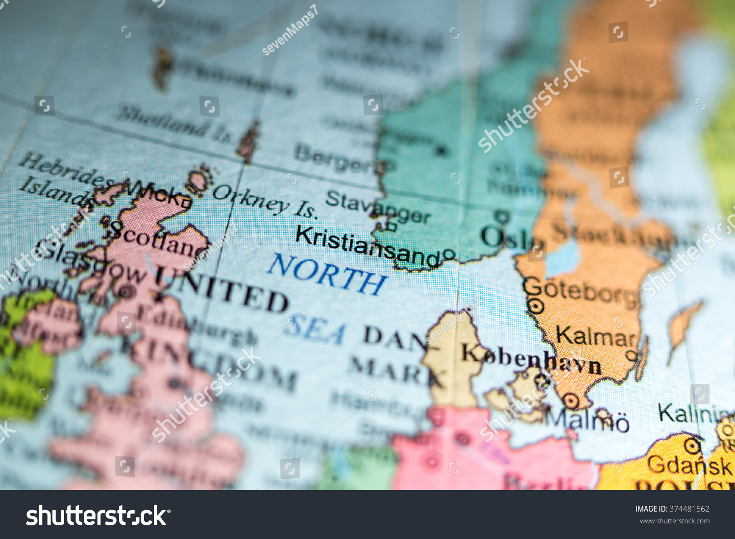 Map View Kristiansand Norway On Geographical Stock Photo 374481562