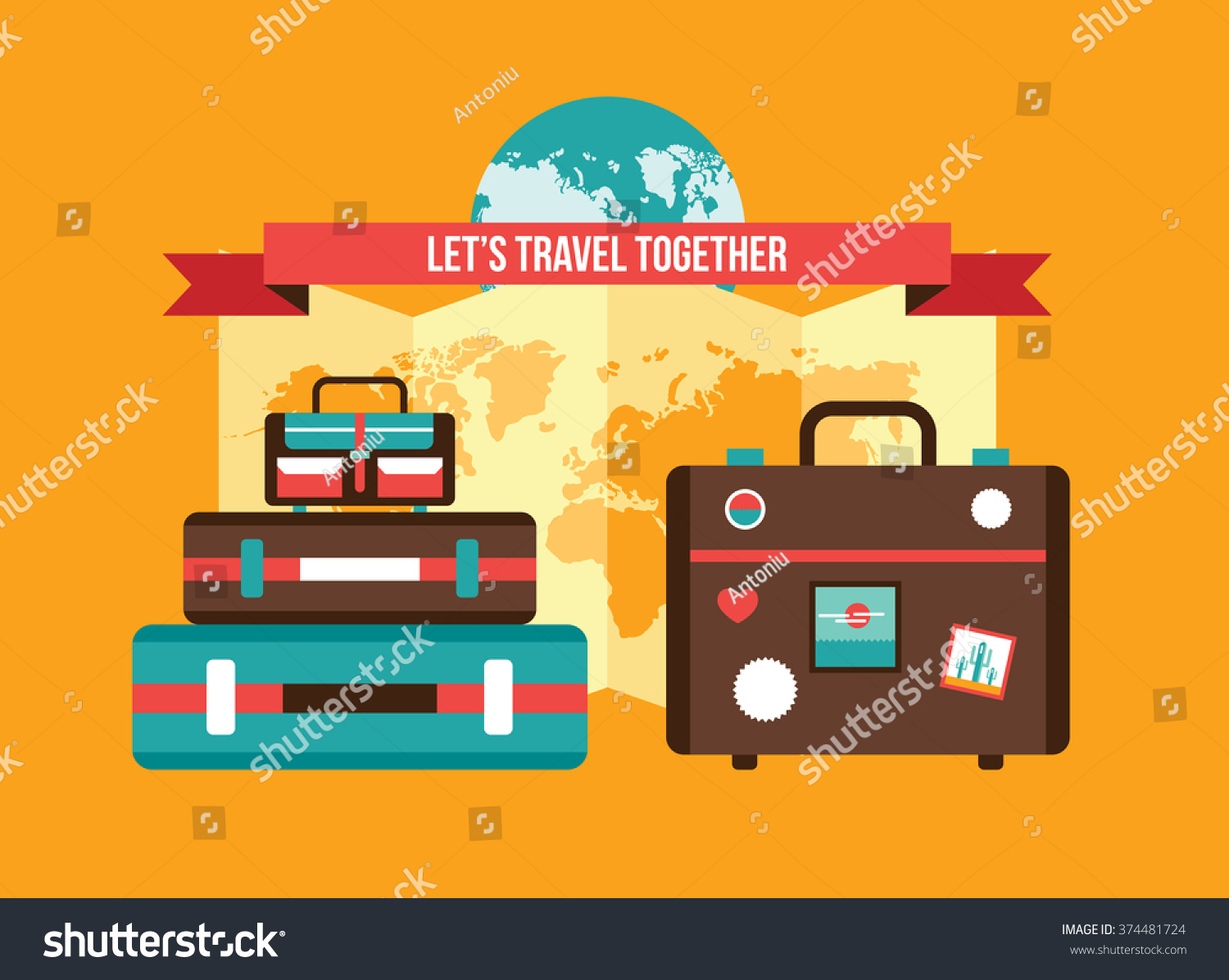 Background bag suitcases world map vacation vectores en stock background with bag suitcases world map vacation travel planning concept gumiabroncs Image collections