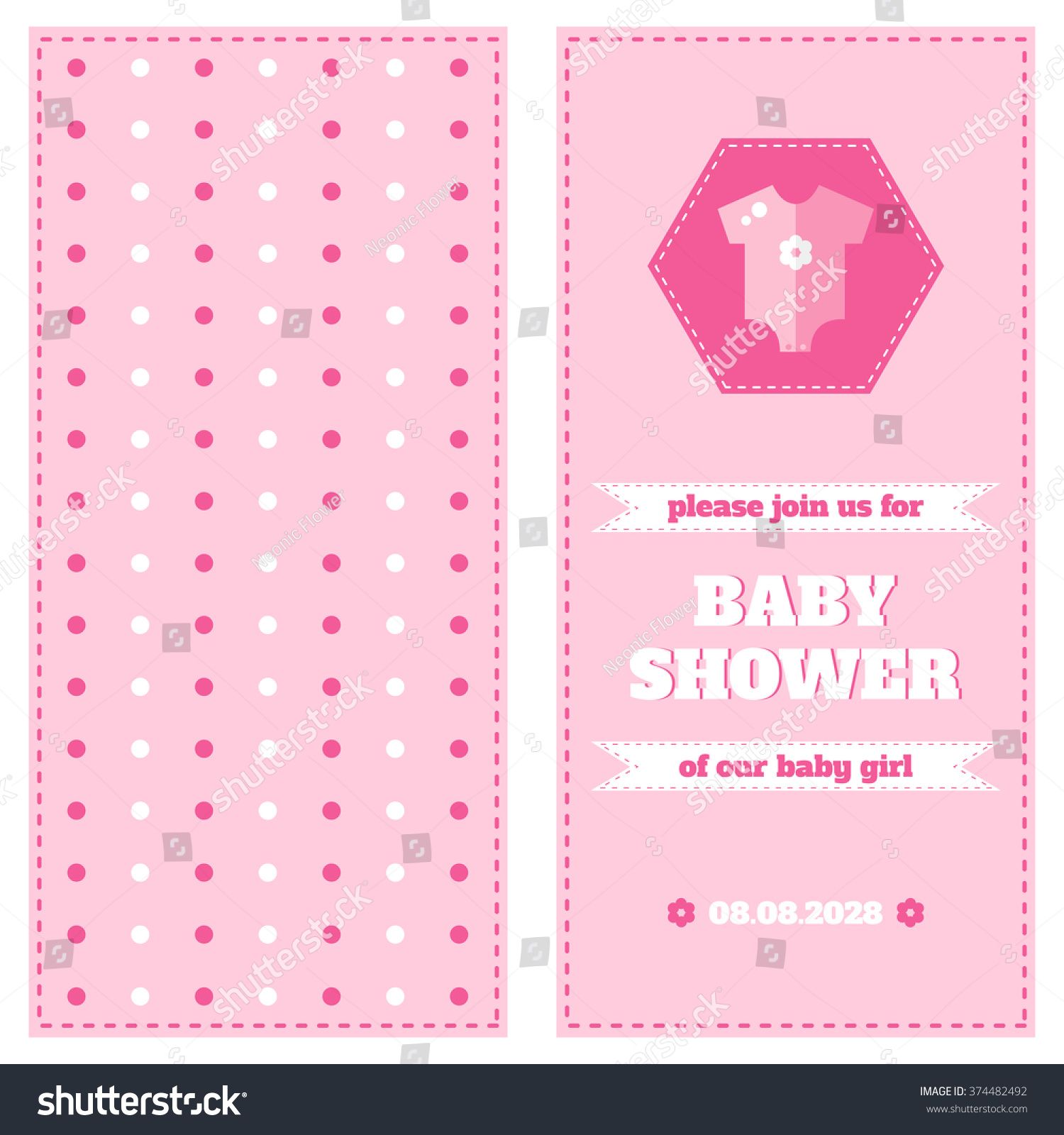 Baby Card Design Template Baby Shower Stock Illustration