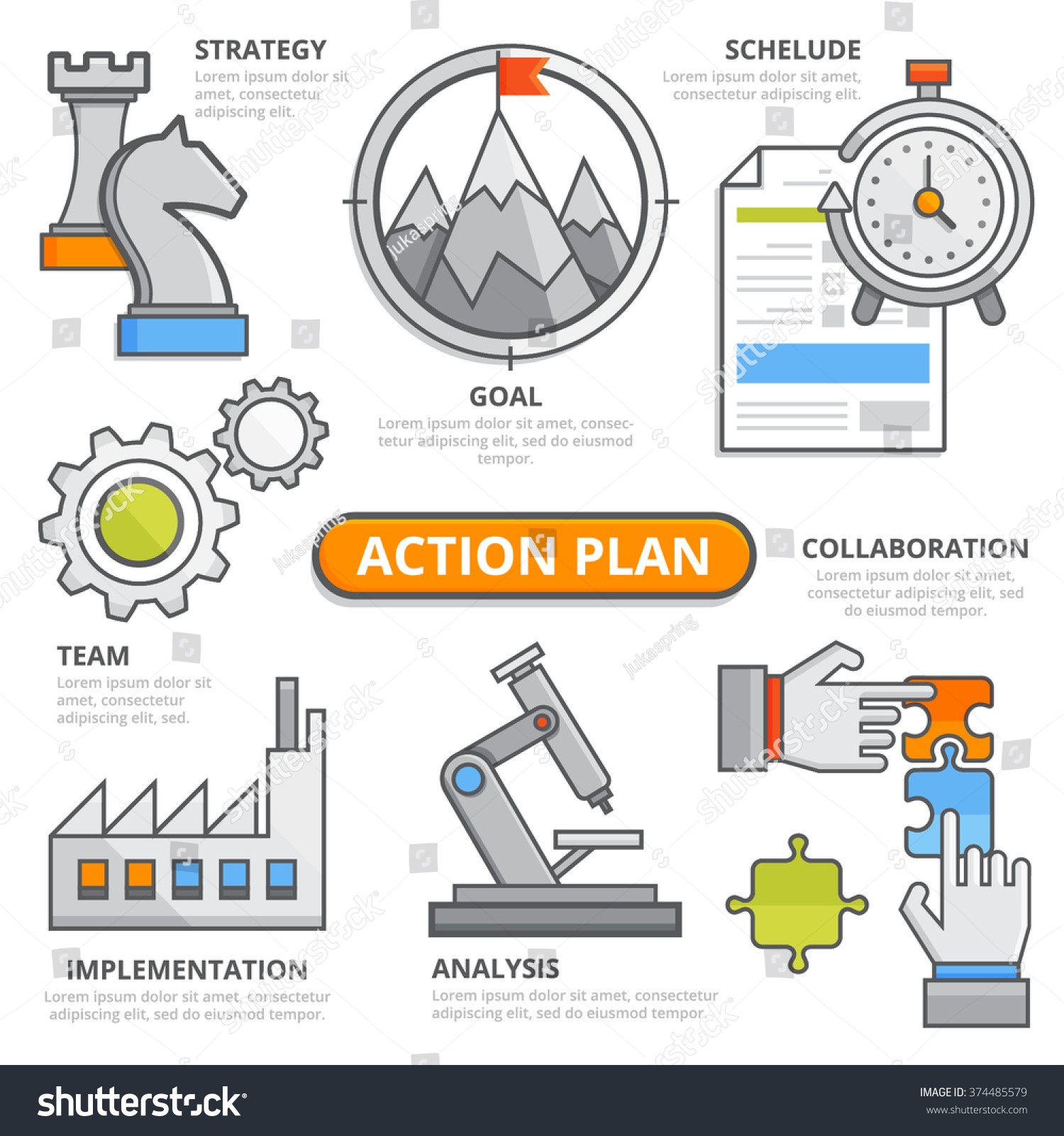 Action plan design concept strategy schedule stock vector 374485579 shutterstock for Network design and implementation plan