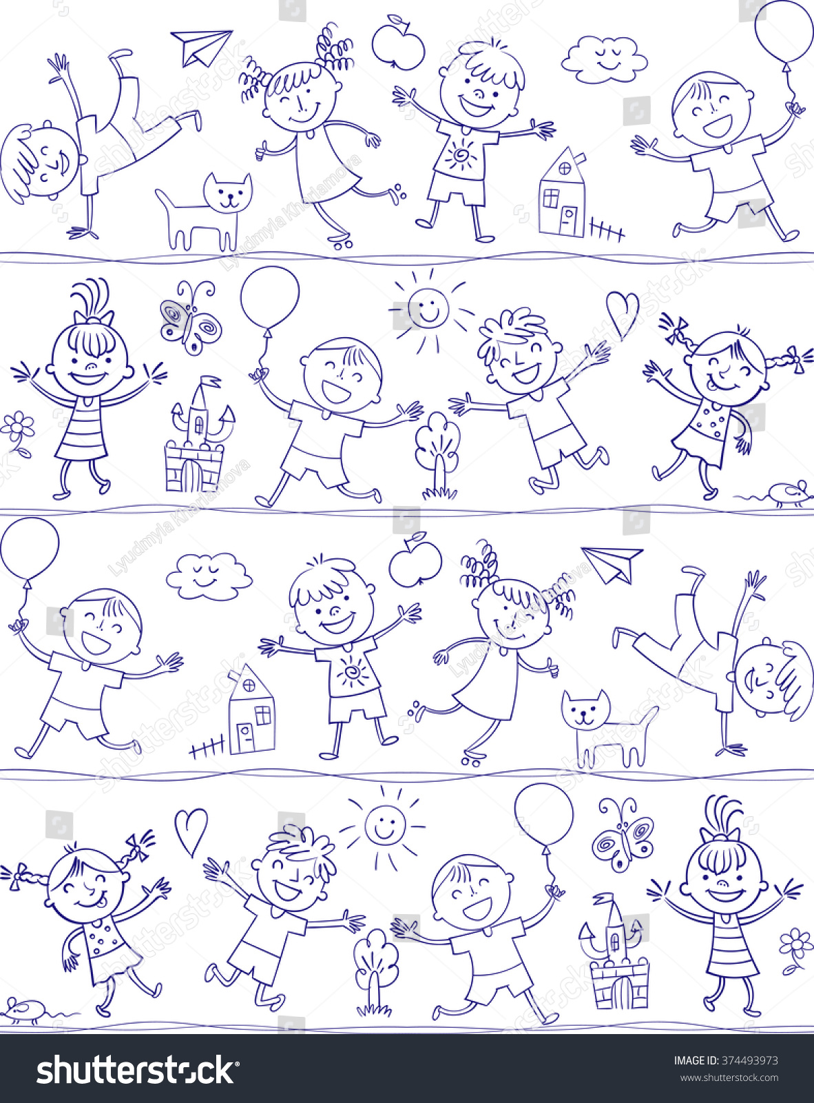 happy kid cartoon doodle in the style of childrens drawings seamless pattern freehand