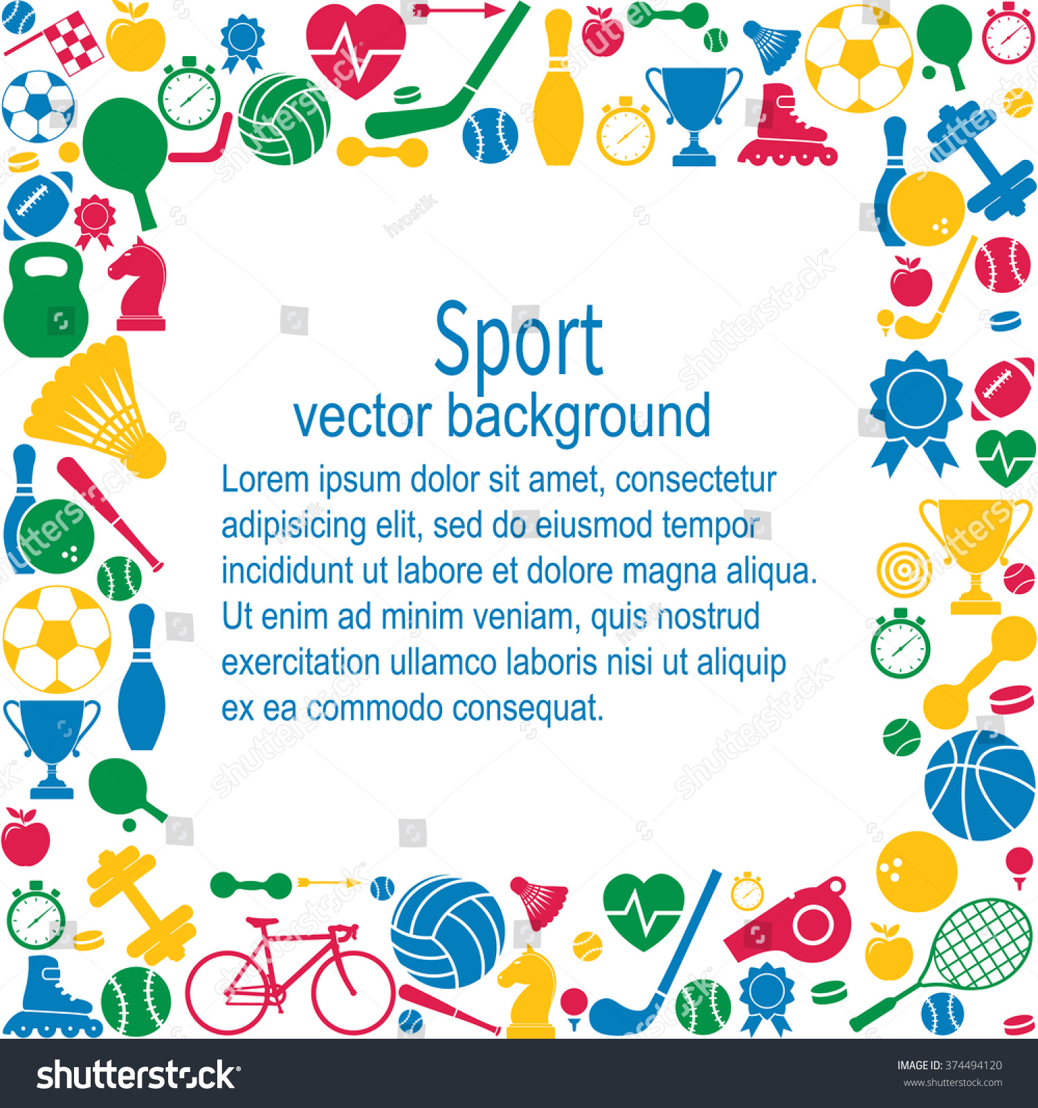 Sports Background Icon Space Text 374494120
