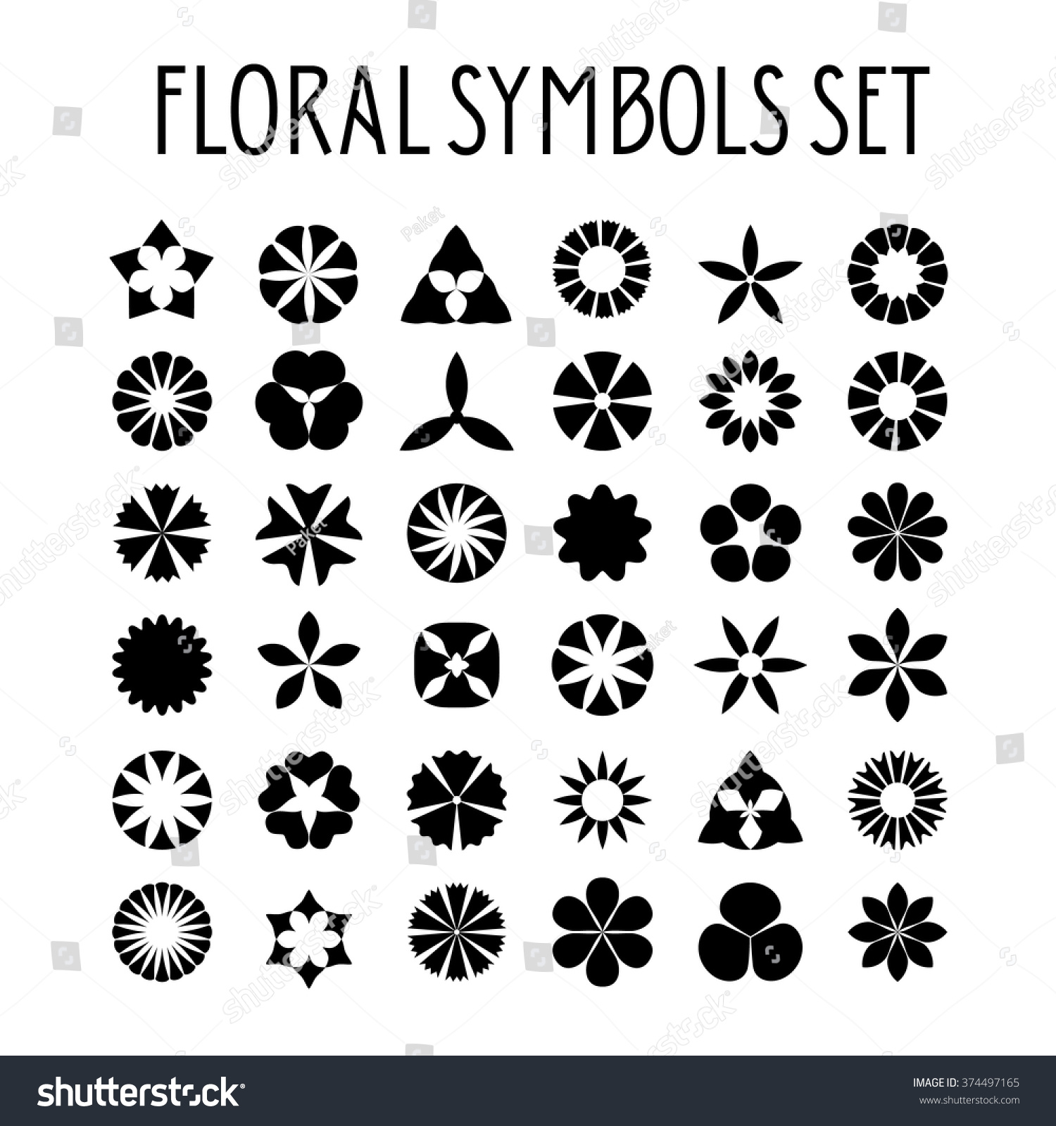Flower Symbols Set Decorative Floral Icons Stock Vector Royalty