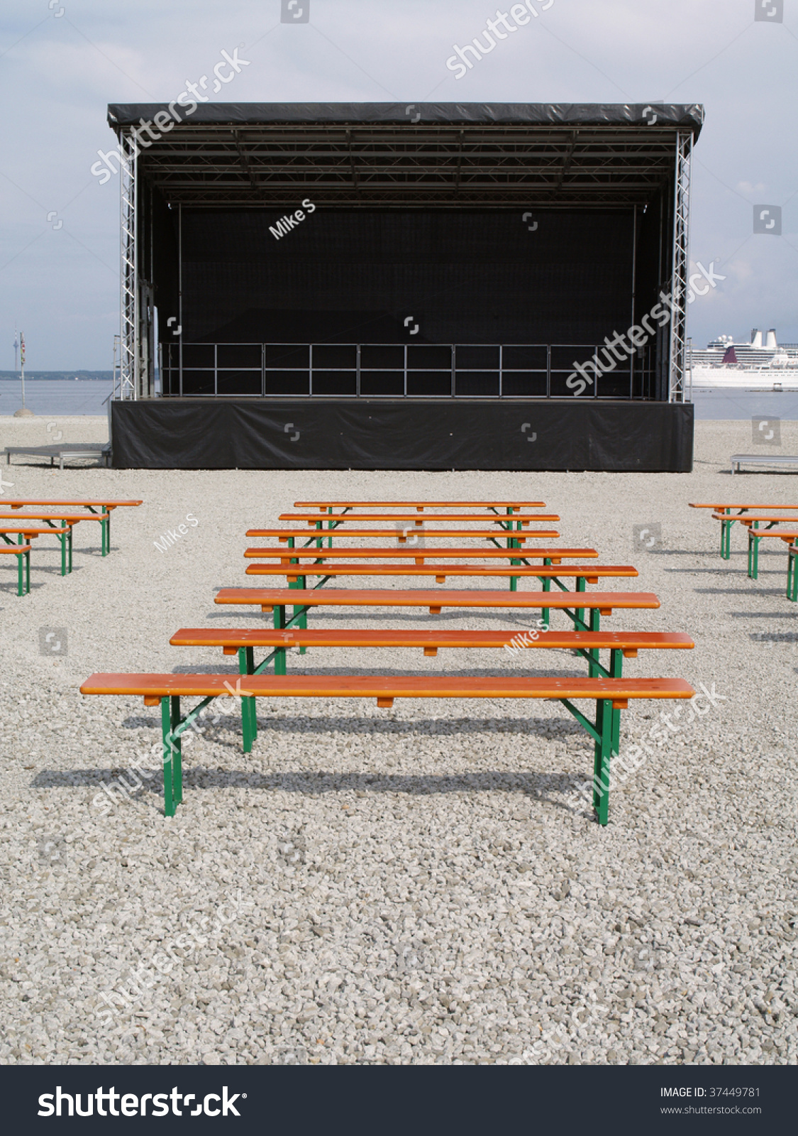 Empty outdoor concert stage - Empty Stage Is Beach Waiting For Concert