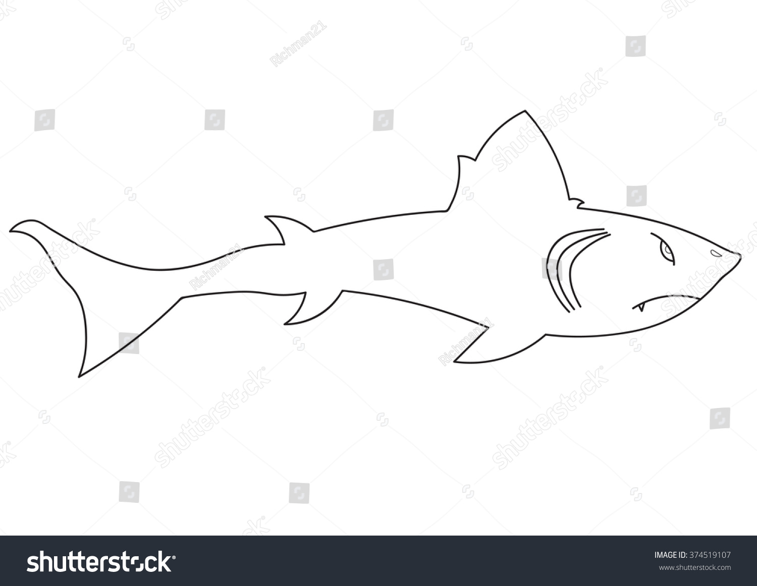 illustration cartoon shark childrens book stock vector 374519107