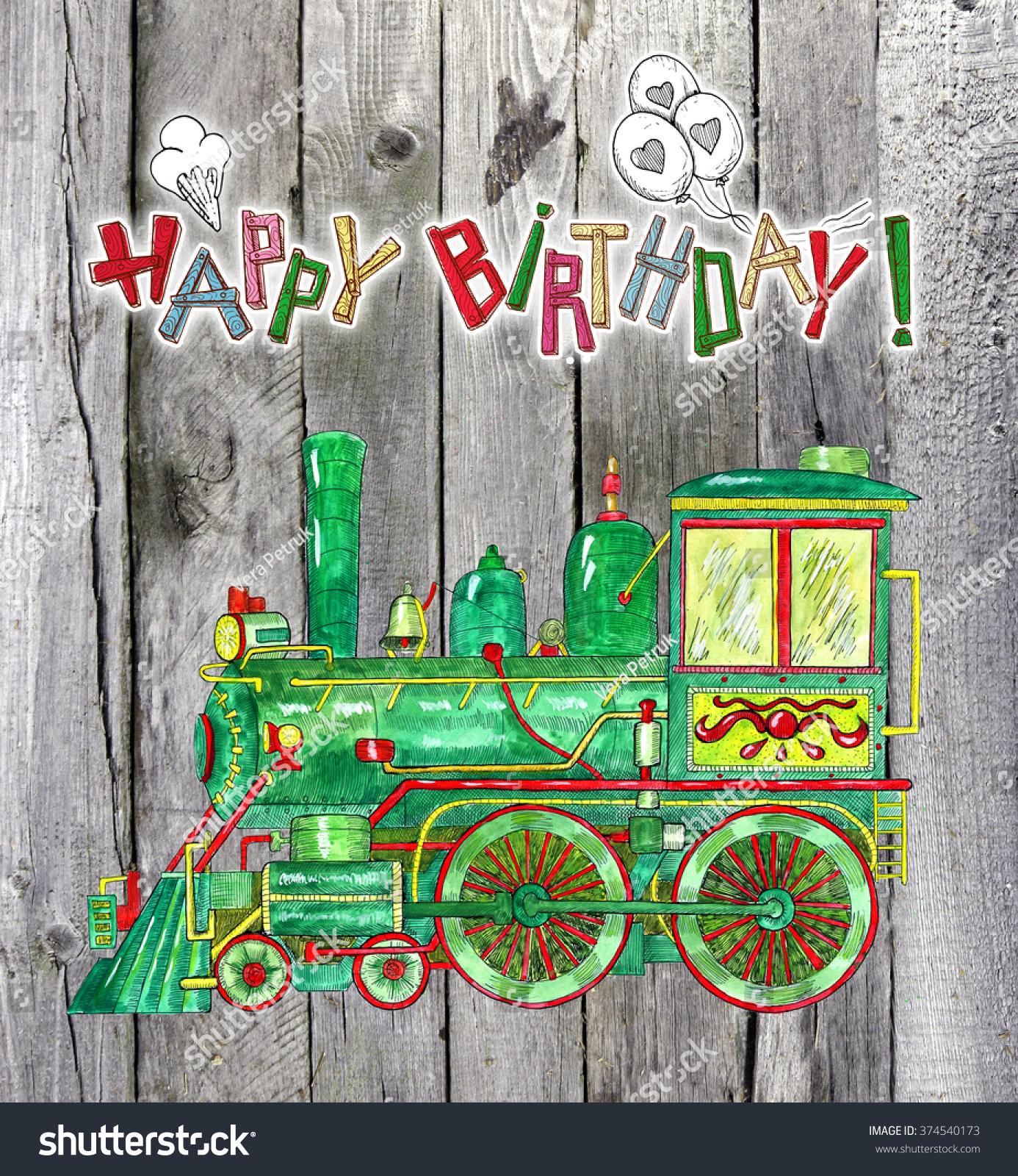 Happy Birthday Card Watercolor Retro Train Illustration – Train Birthday Cards