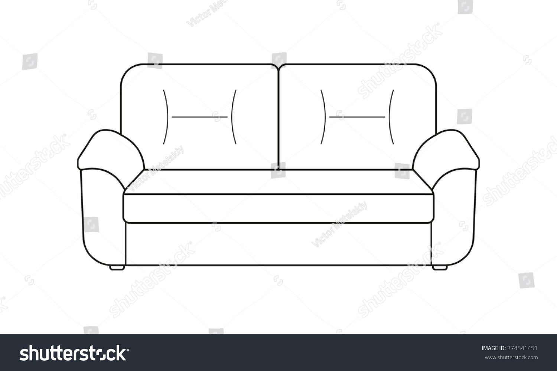 Sofa Line Icon Furniture Outline Symbol Stock Vector