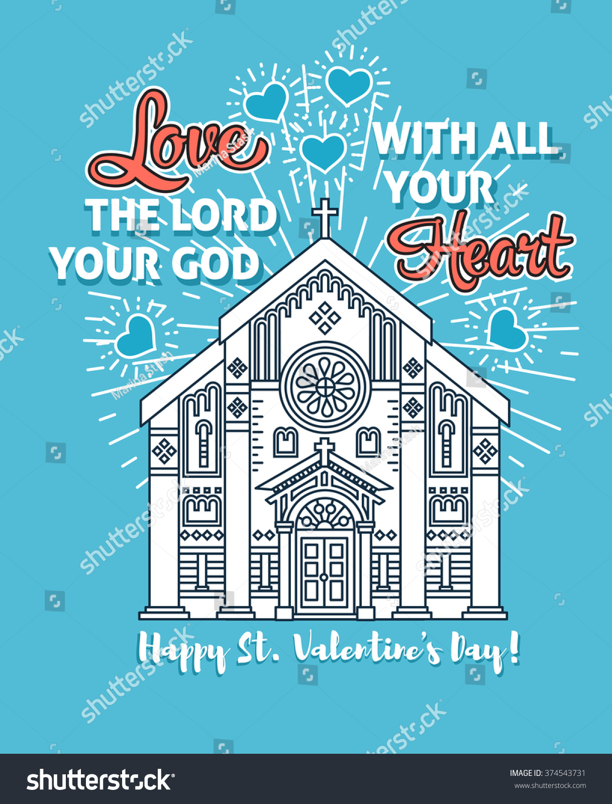 Happy Valentines Day Greeting Card Poster Stock Vector 374543731