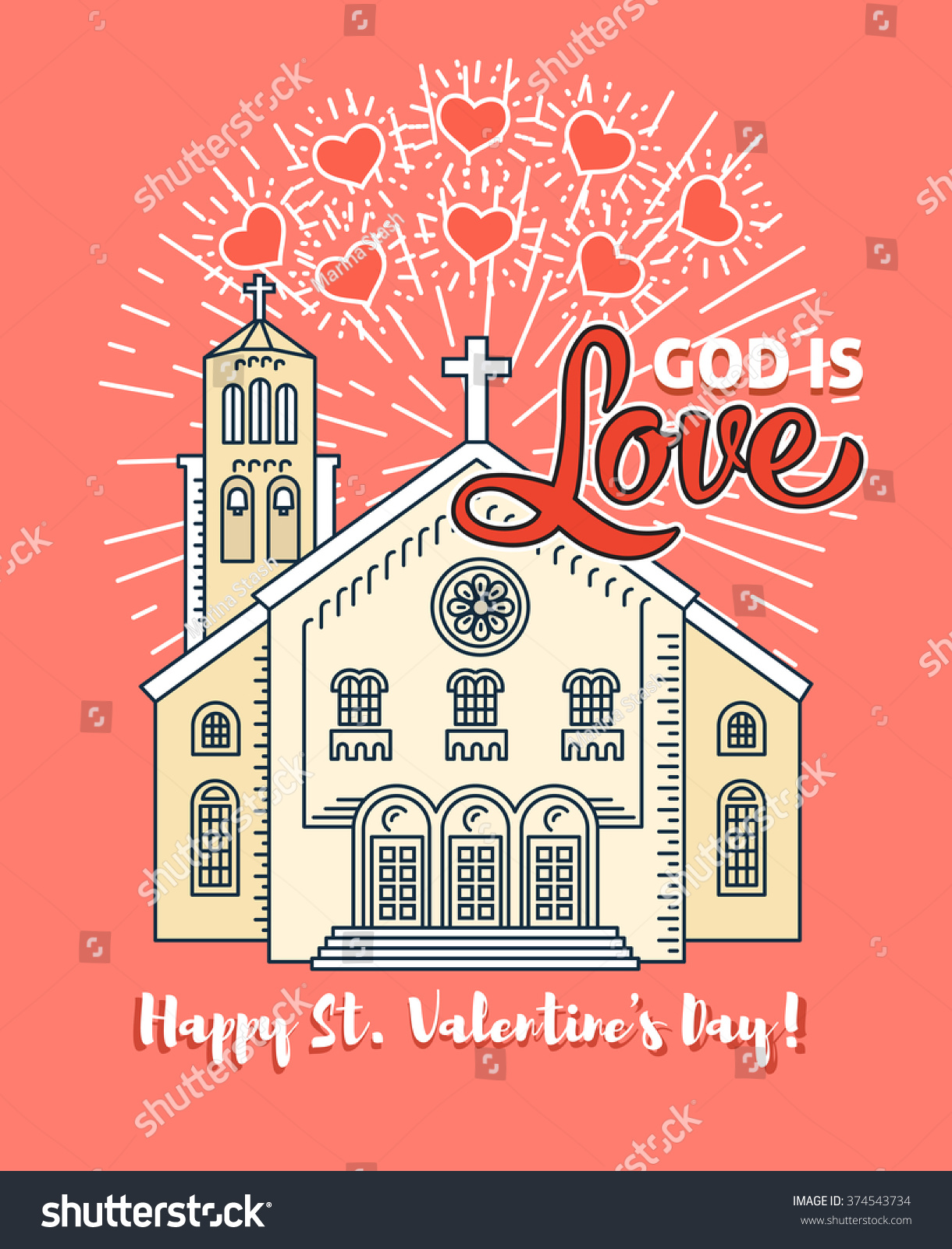 Happy valentines day greeting card poster stock vector 374543734 happy valentines day greeting card poster template christian valentines day card for the church service kristyandbryce Images