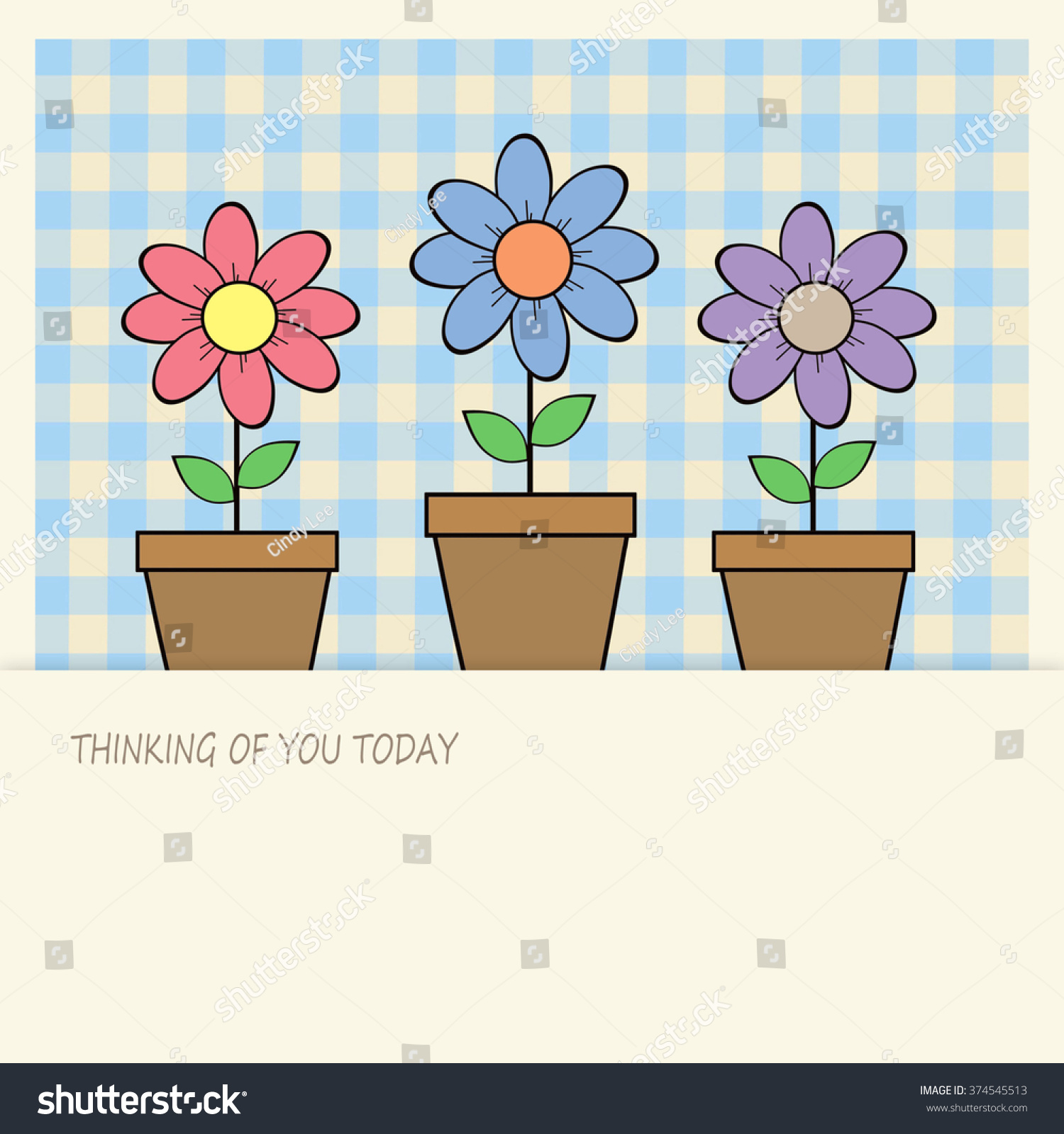 Royalty Free Stock Illustration Of Flower Pots Thinking You Today