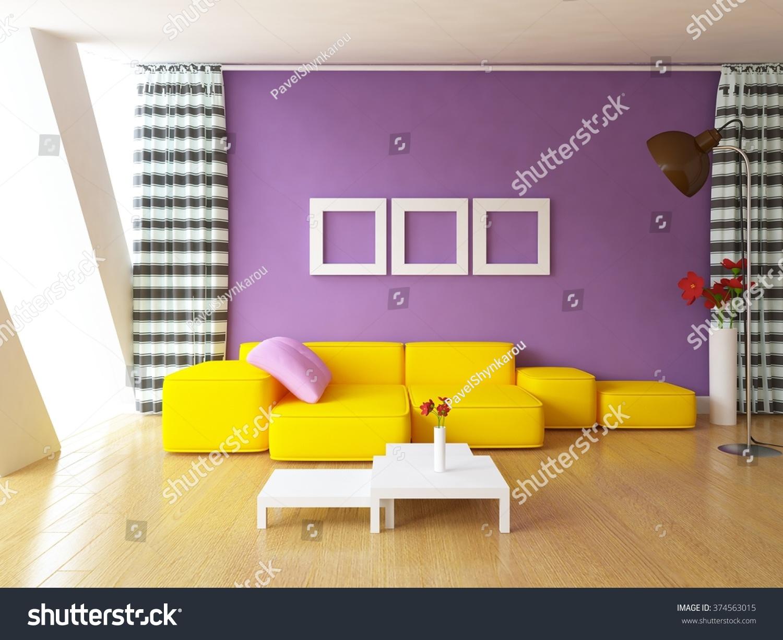 Purple Wall Curtains Orange Sofa 3 D Stock Illustration 374563015 ...