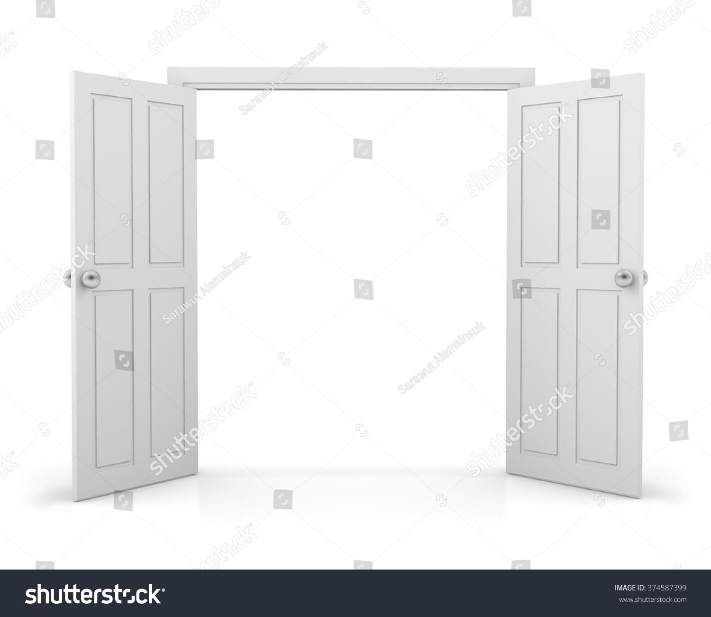 3d White Double Door On White Stock Illustration 374587399