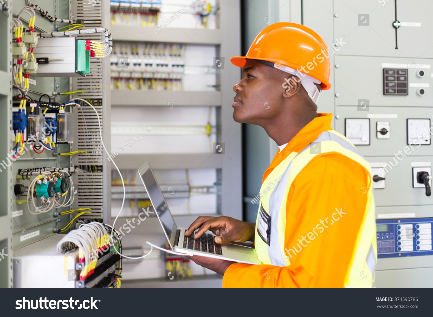 African Industrial Electrician Working Power Plant Stock Photo ...