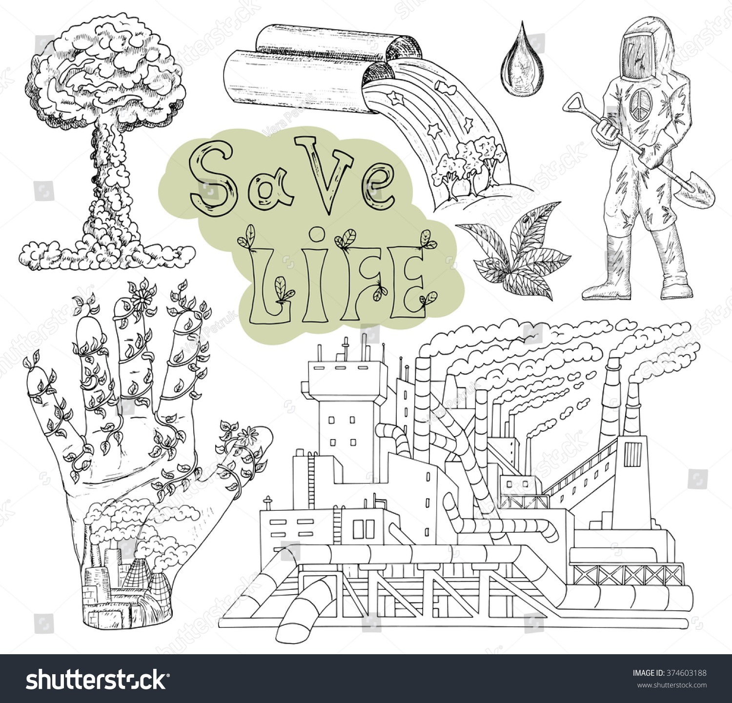 Doodle Set Pollution Dirty Factory Text Stock Vector Royalty Free