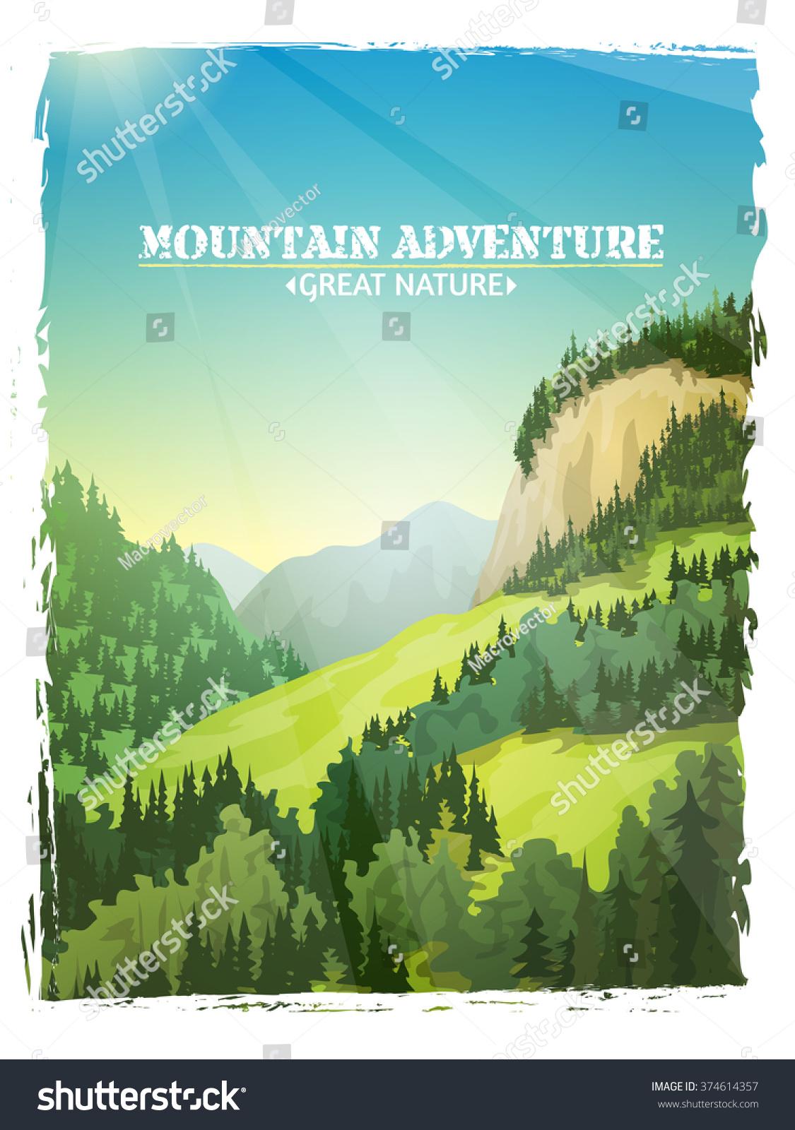 Poster design landscape - Mountains Sunny Green Slopes Landscape Design Travel Outdoor Adventures Background Poster Abstract Illustration Vector