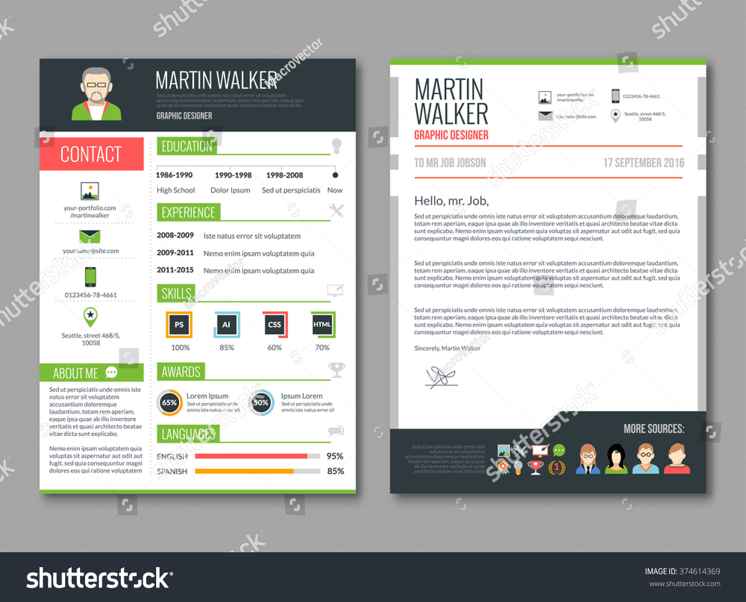 cv layout template candidate education job stock vector 374614369
