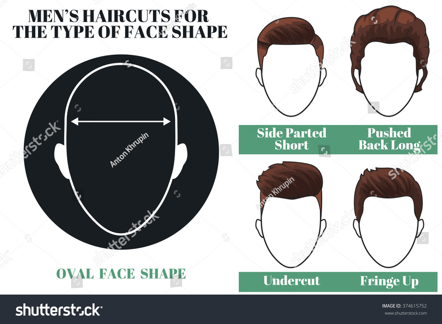 Mens Haircuts Hairstyles Oval Face Shape Stock Illustration