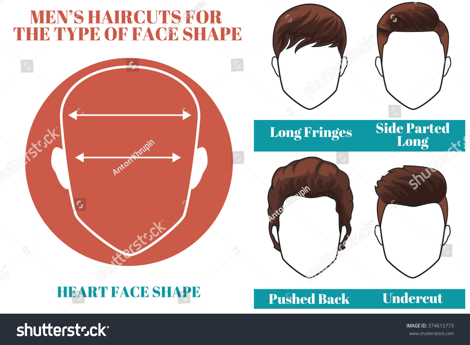 Different Types Haircuts Heart Face Shape Stock Illustration