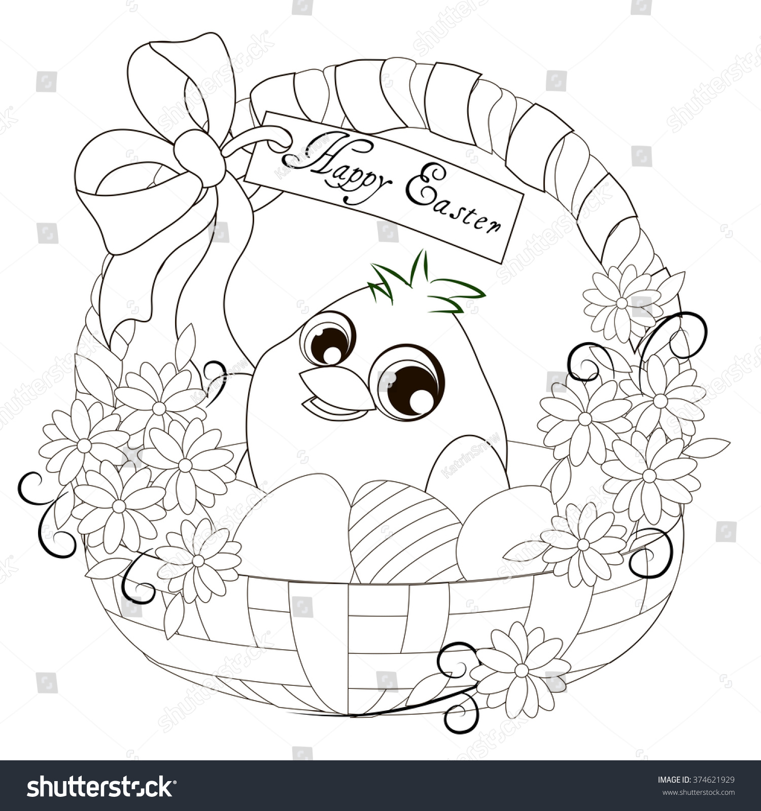 Easter Basket Chick Easter Basket Chick Stock Vector (Royalty Free ...