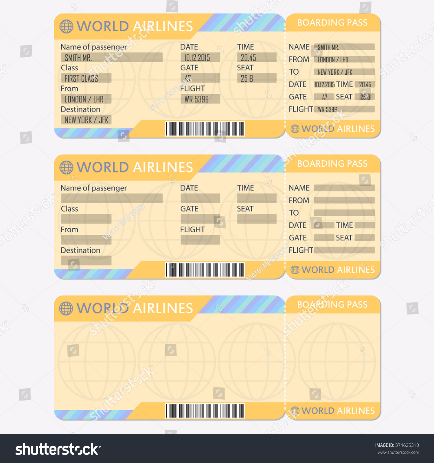 Airline Plane Ticket Template Boarding Pass Vector 374625310 – Plane Ticket Template