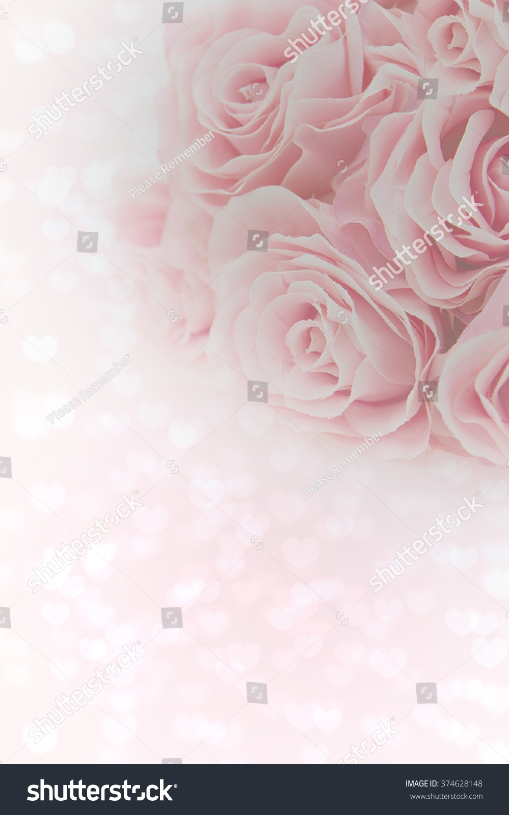Bouquet Light Pink Roses Heart Background Valentines Stock