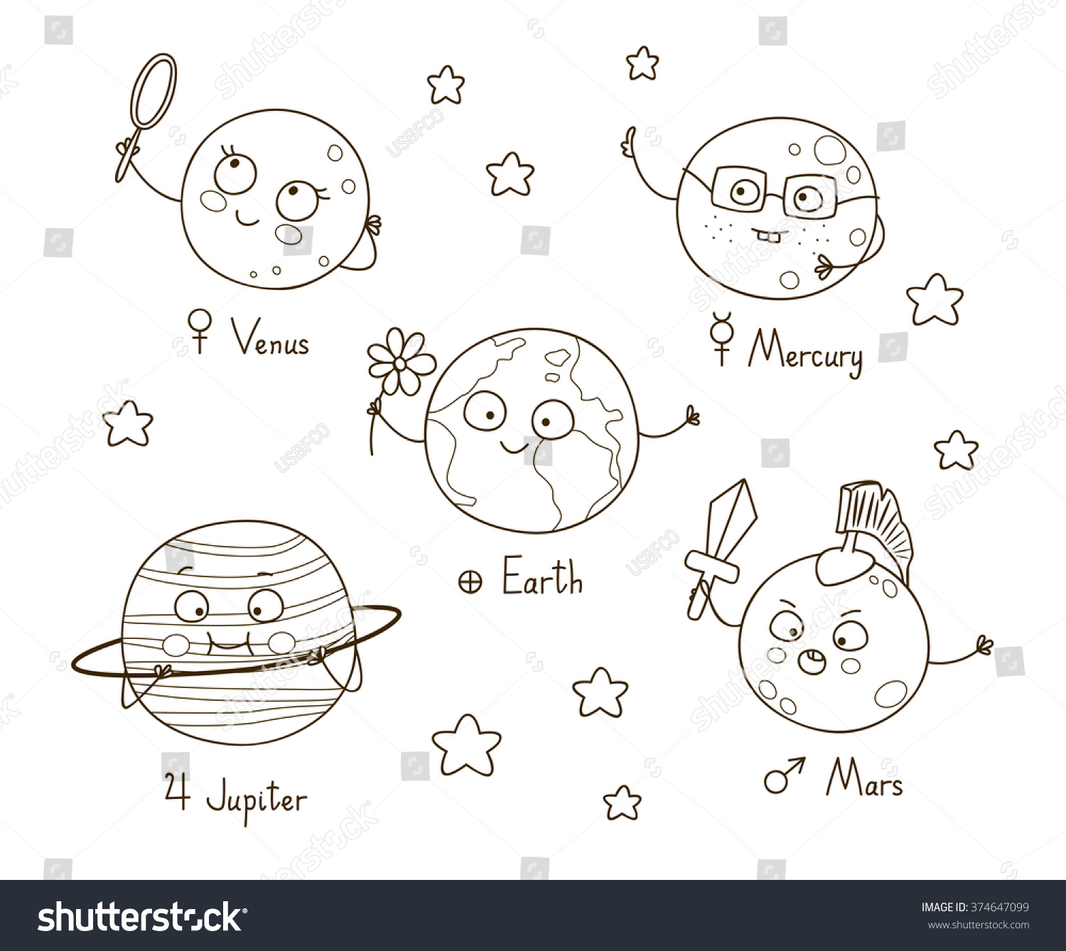 Cute Cartoon Planets Coloring Book Stock Vector 374647099 - Shutterstock