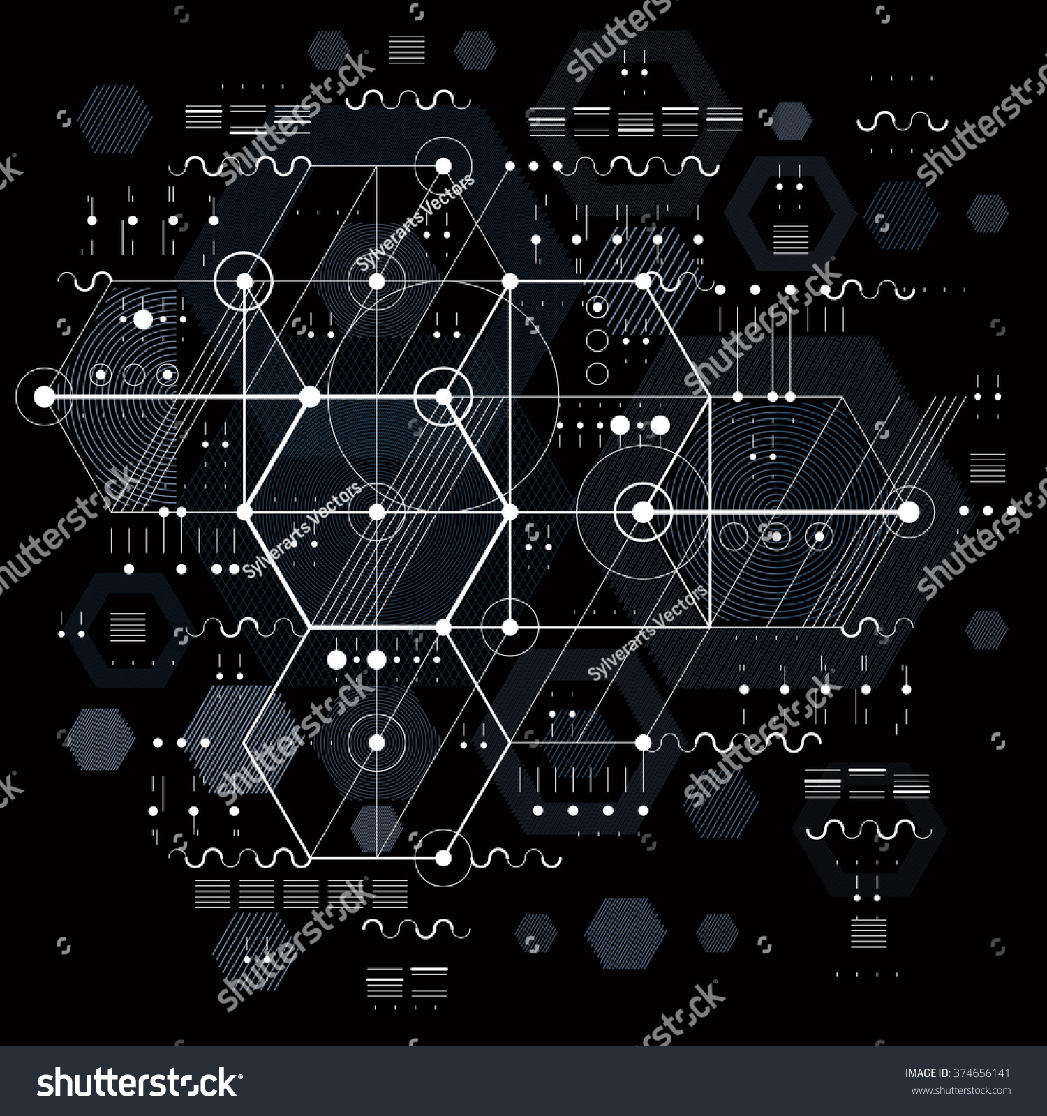 Abstract geometry pattern line and shape vector illustration design - Vector Industrial Engineering Background Future Technical
