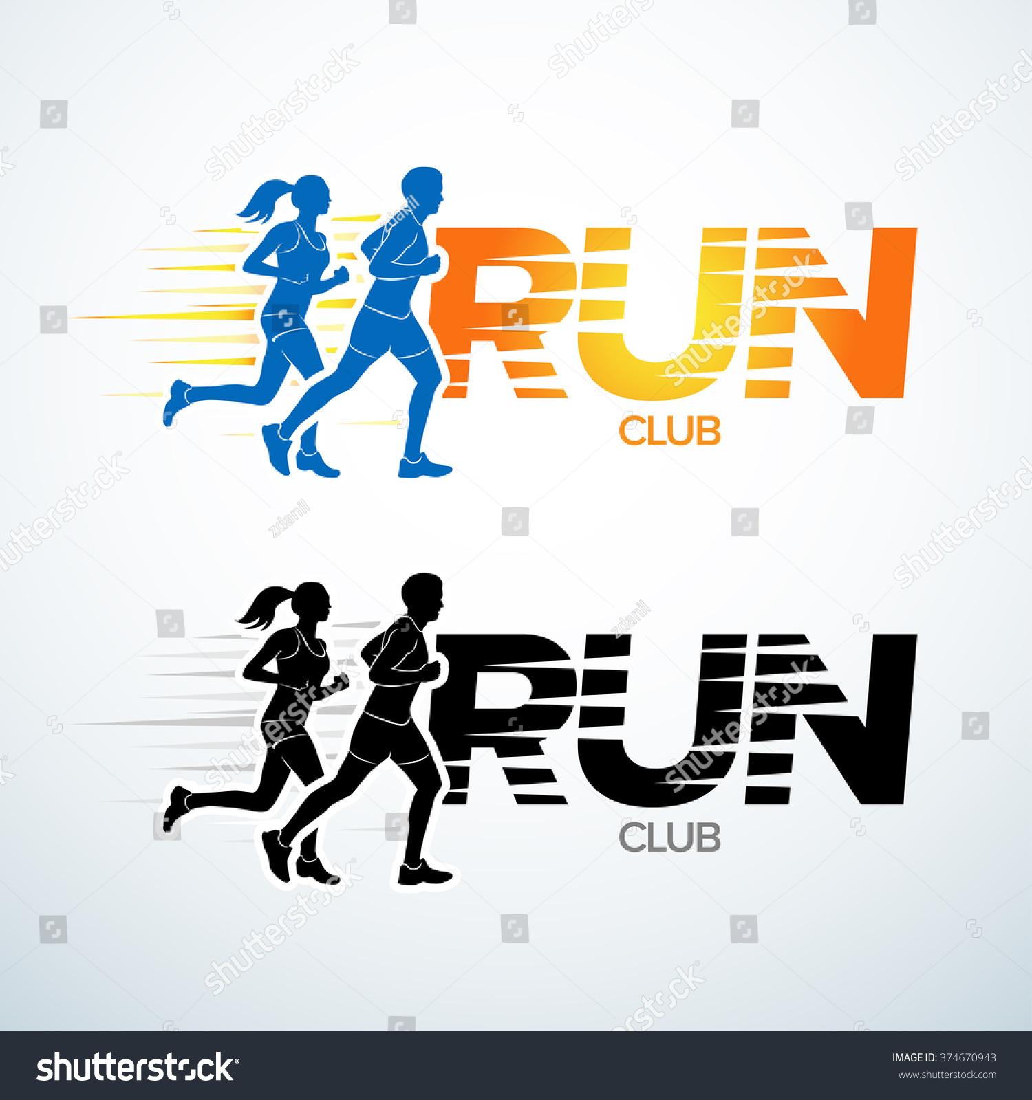 run club logo template sport logotype のベクター画像素材