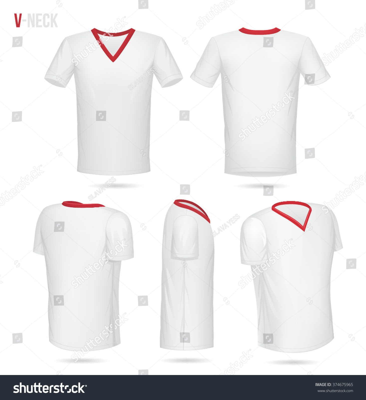 Black t shirt red collar - White V Neck T Shirt With Red Collar 5 Sides Front