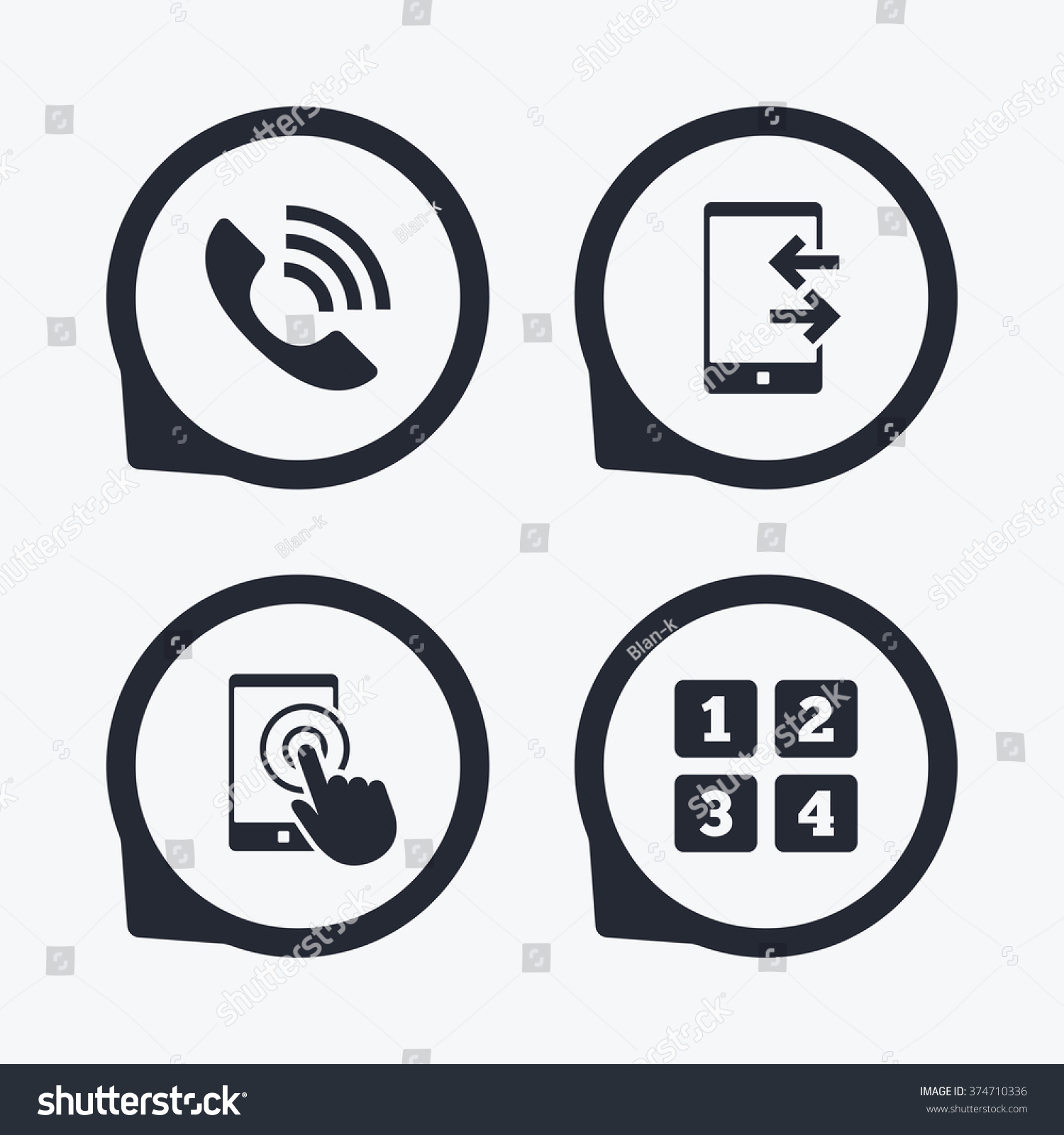 Phone icons touch screen smartphone sign stock vector 374710336 phone icons touch screen smartphone sign call center support symbol cellphone keyboard symbol biocorpaavc Images