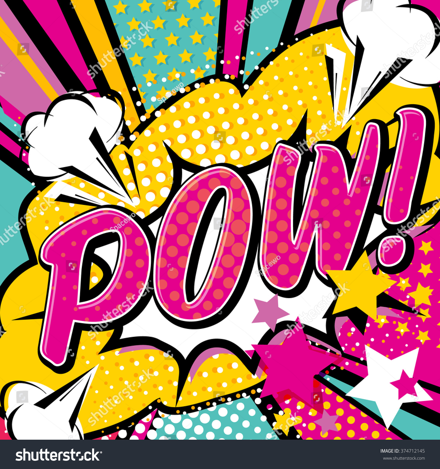 Pop Art Pow Quote Type Bang Stock Vector 374712145