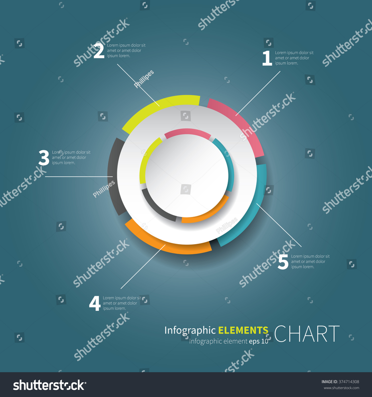modern circle chart values percentage modern stock vector royalty