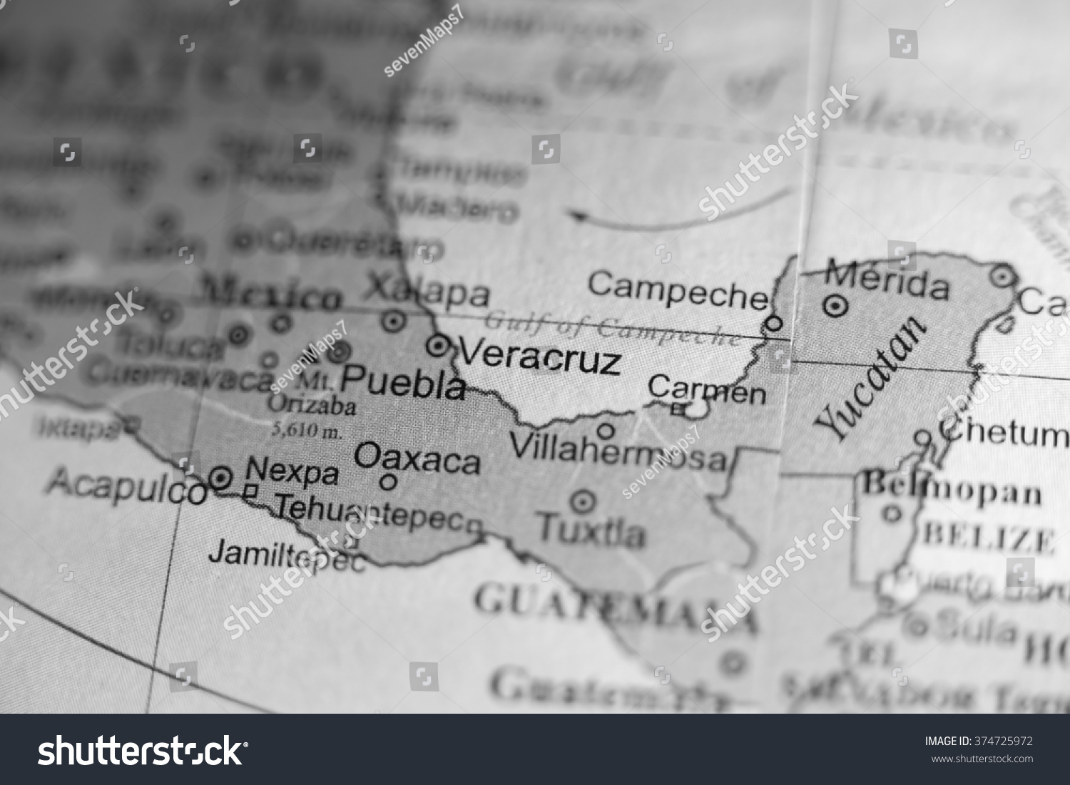 Map View Of Veracruz Mexico On A Geographical Map Ez Canvas