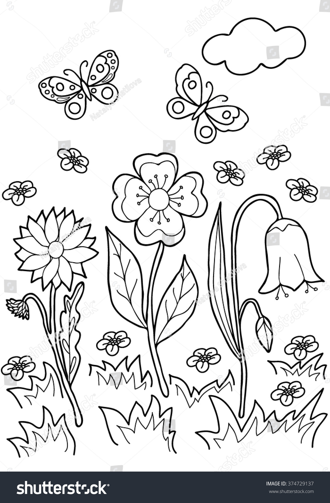 Coloring Book Hand Drawn Black And WhiteAdults ChildrenFlowers