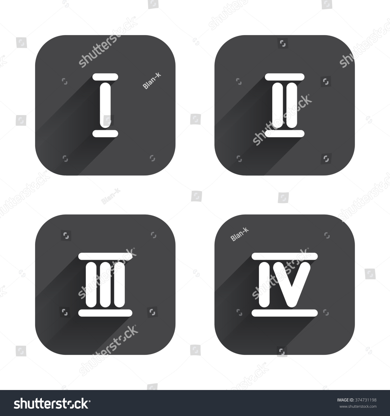 Worksheet 4 Roman Numeral roman numeral icons 1 2 3 stock vector 374731198 shutterstock and 4 digit characters ancient rome