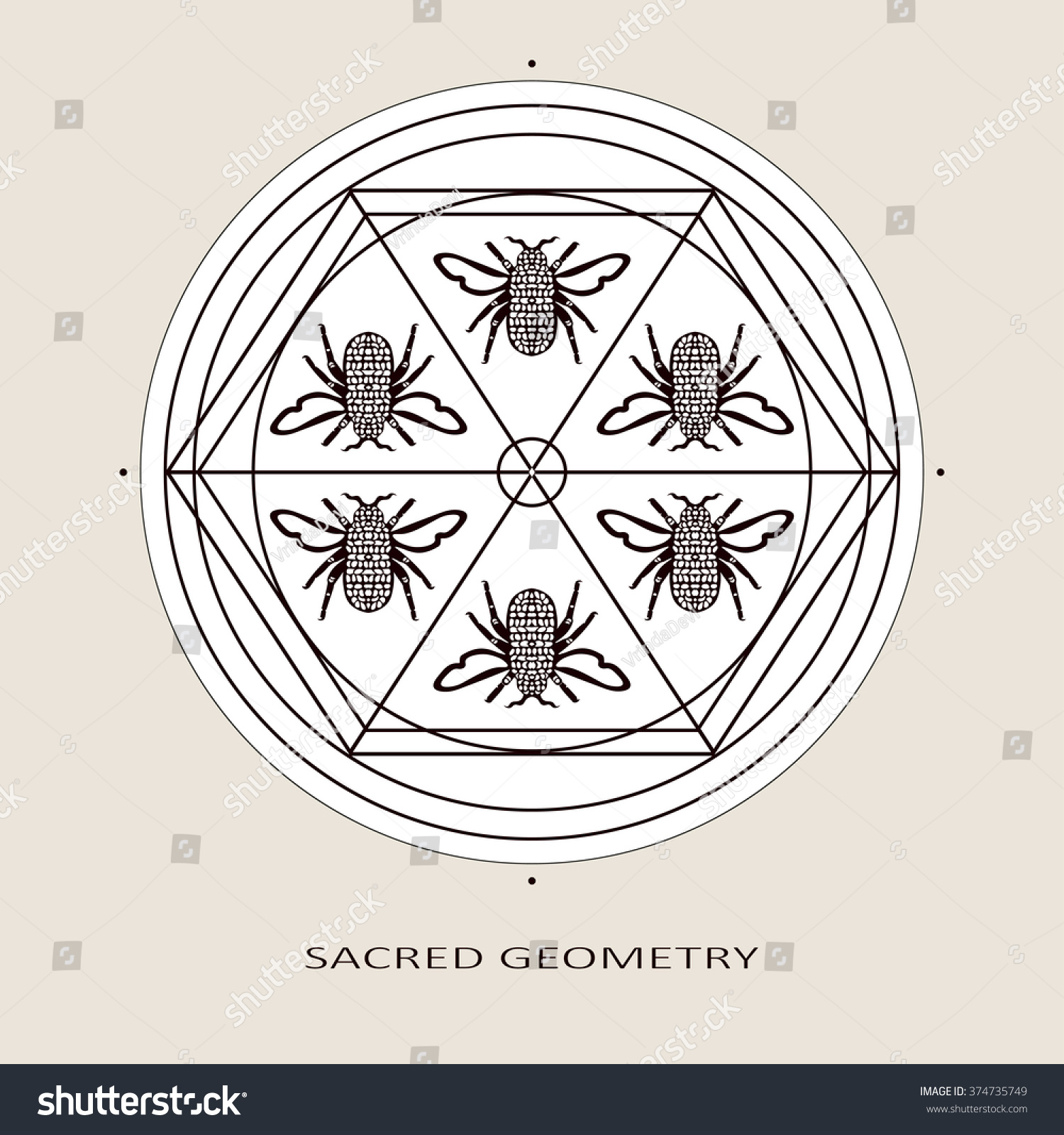 Abstract Geometry Pattern Graphic Symbols Ancient Stock Vector