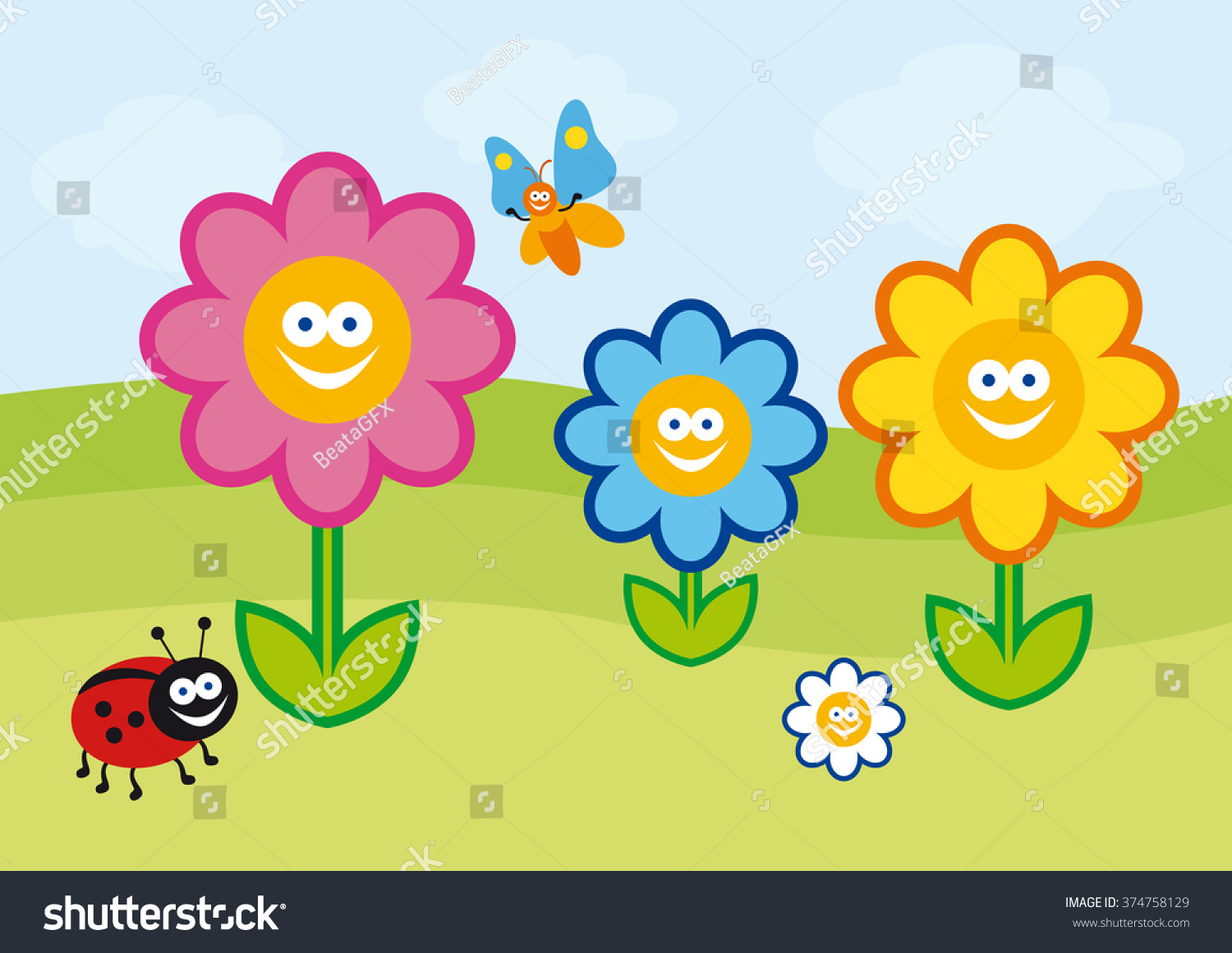 Funny Spring Illustration Vector Colorful Flowers Stock Vector