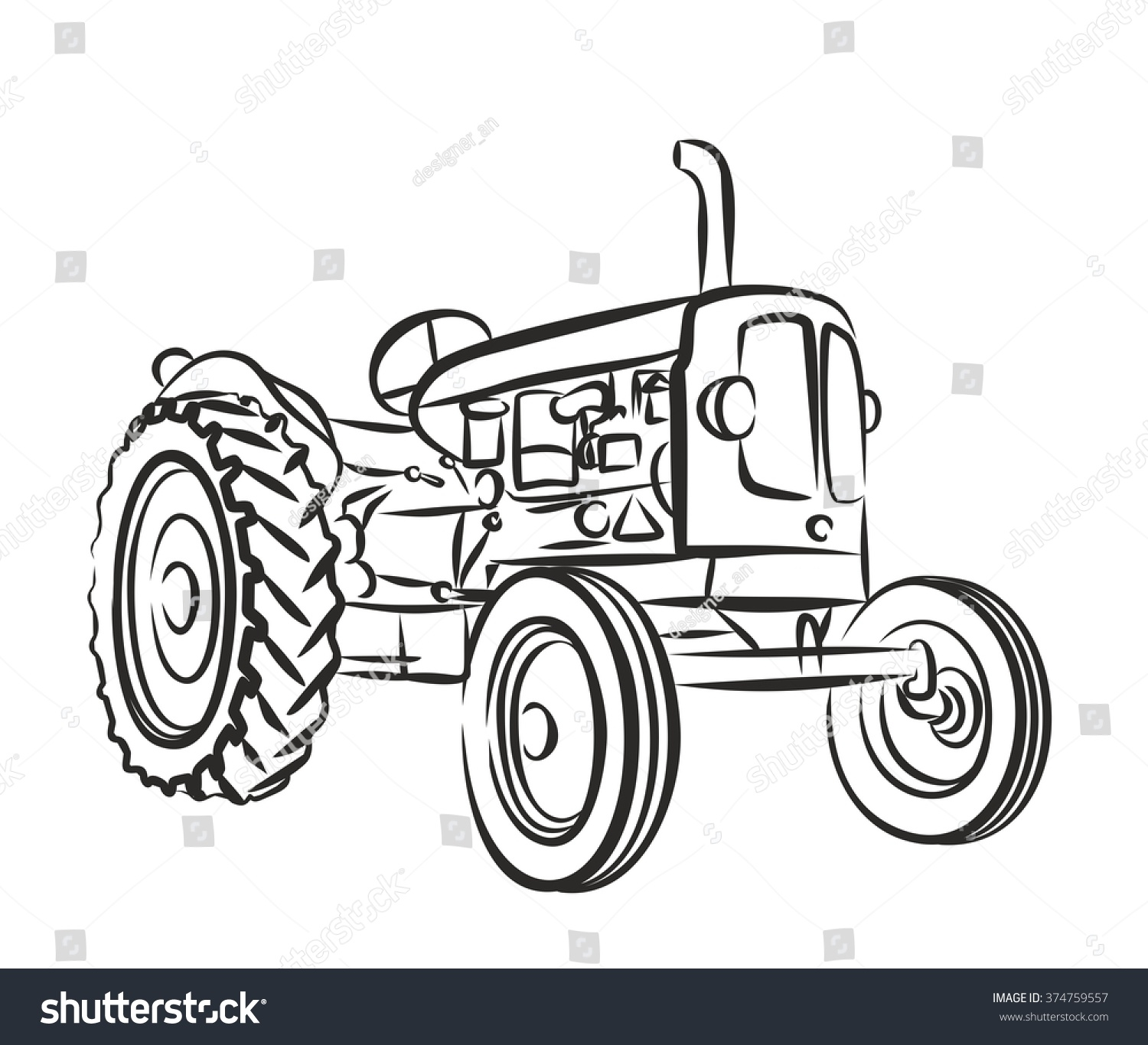 Line Drawing Tractor : Sketch old tractor stock vector shutterstock