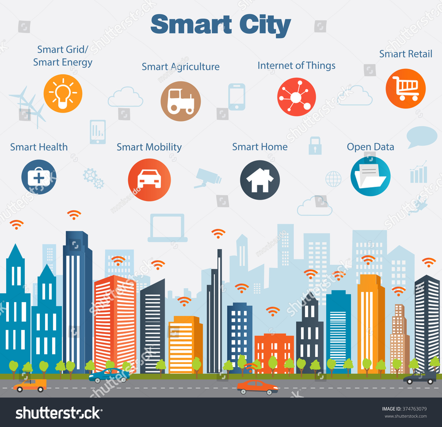 Smart City Concept With Different Icon And Elements. Modern City