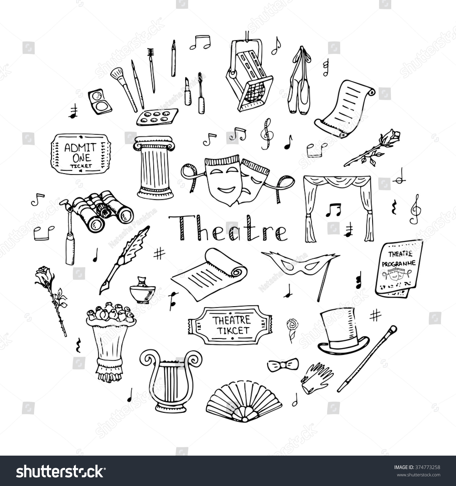 hand drawn doodle theatre set vector stock vector 374773258 hand drawn doodle theatre set vector illustration sketchy theater icons theatre acting performance elements ticket masks