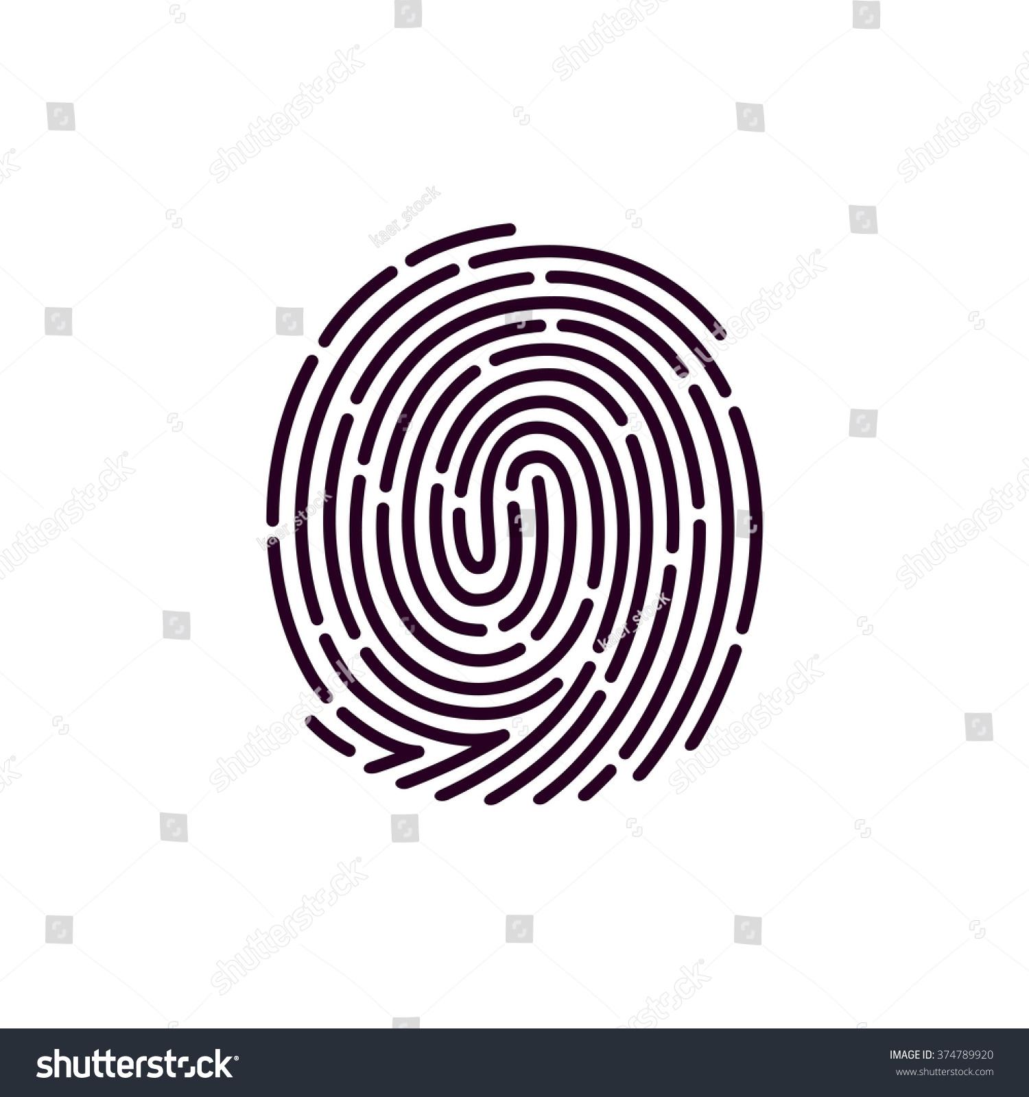 Fingerprint Line Icon Vector Design Template Stock Vector ...