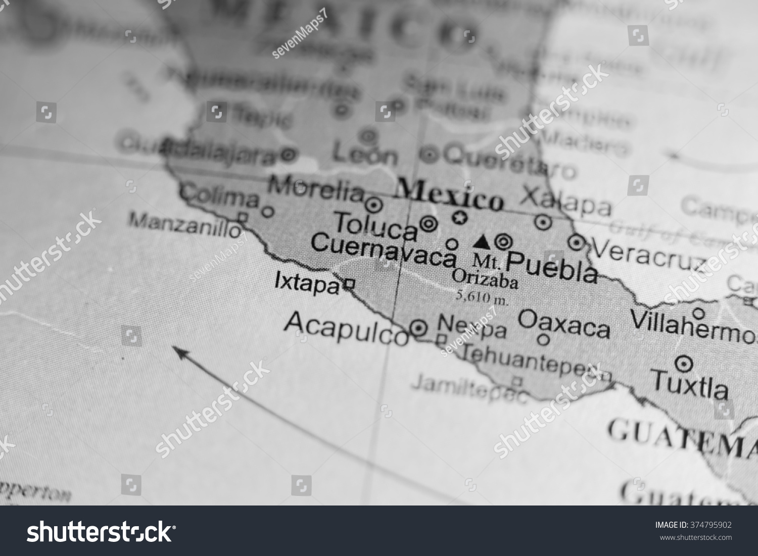 Map View Toluca Mexico On Geographical Stock Photo 374795902
