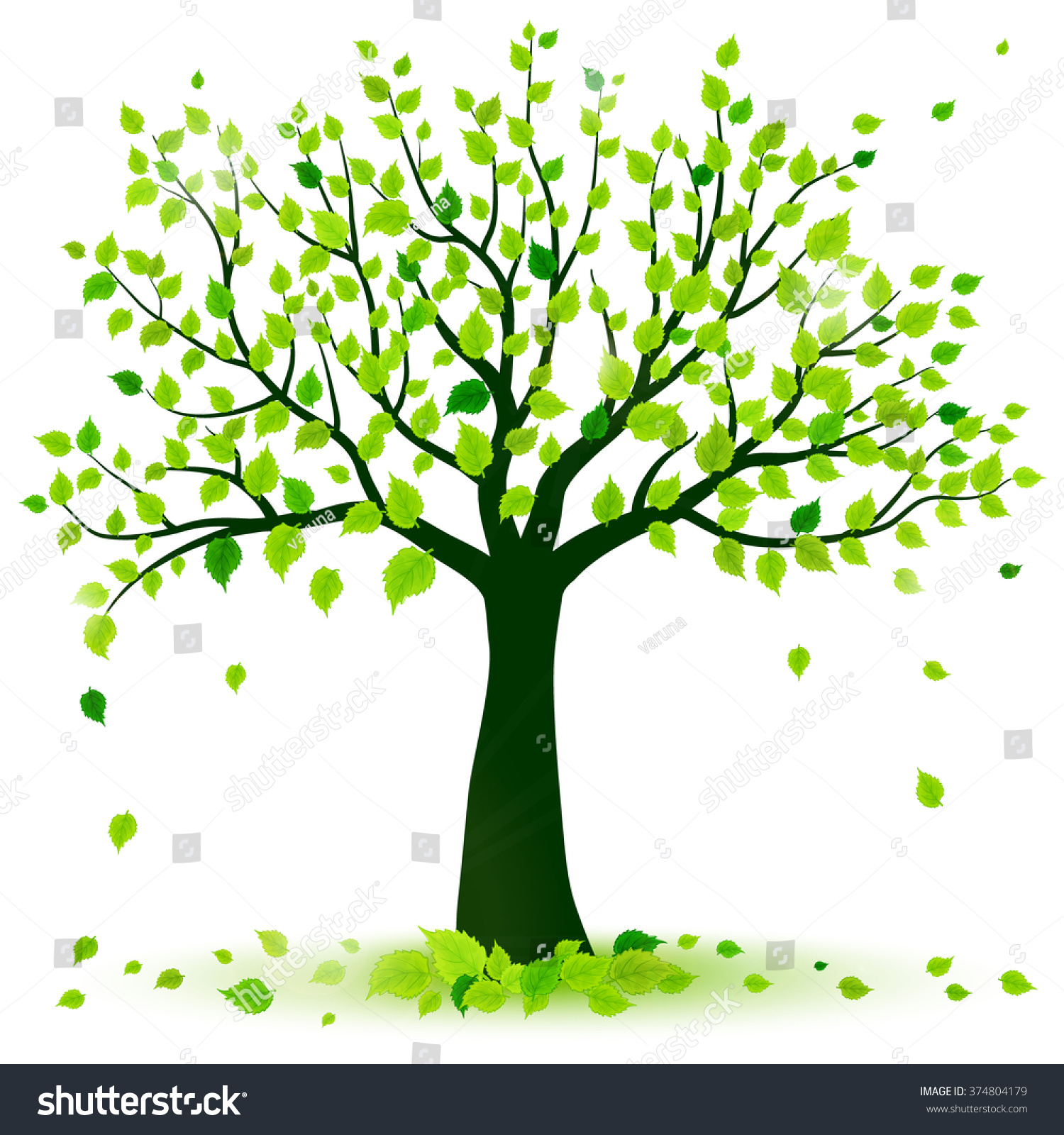 Summer Tree Stock Vector 374804179 - Shutterstock