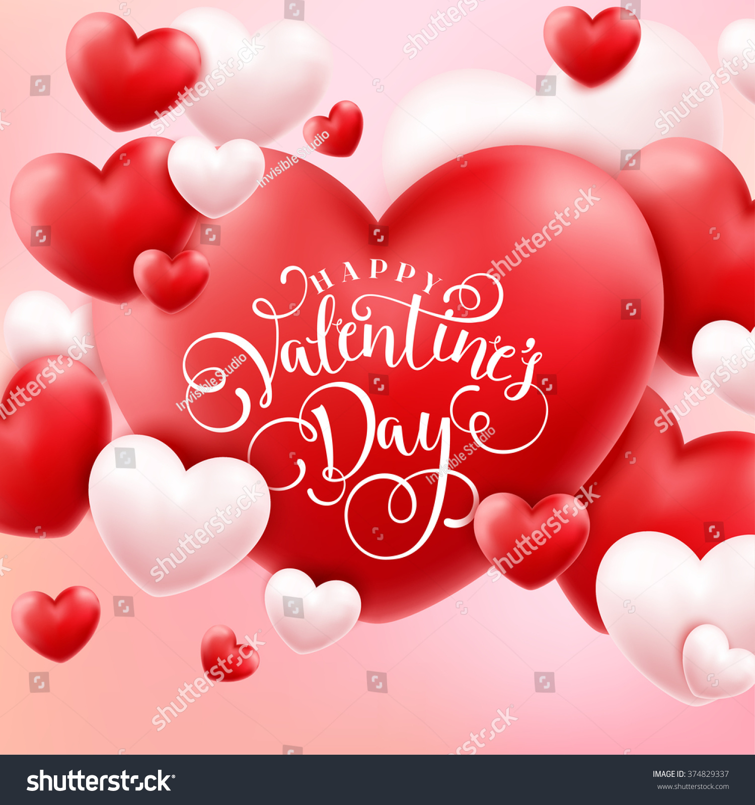 Happy Valentines Day Calligraphy Background 3d Stock Vector