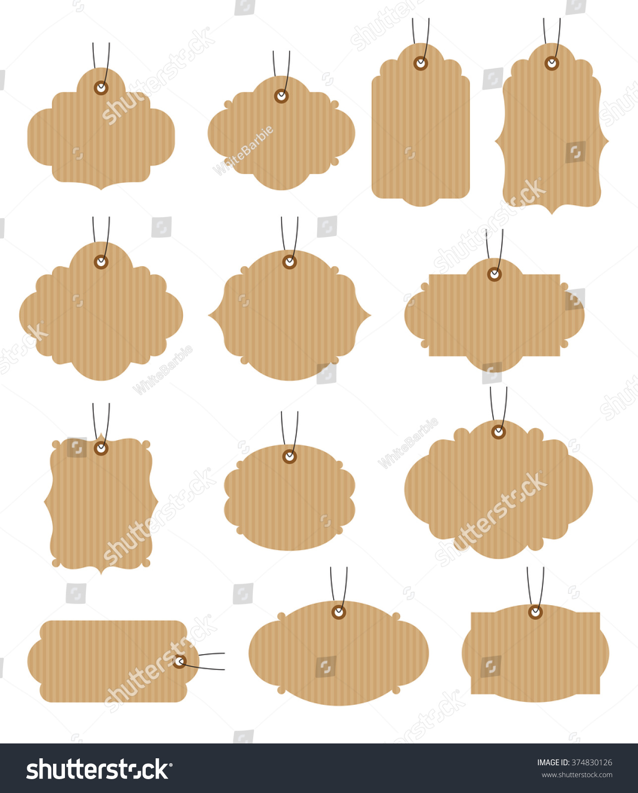 Set vintage tags vector illustration craft stock vector 374830126 set of vintage tags vector illustration craft paper tags jeuxipadfo Choice Image